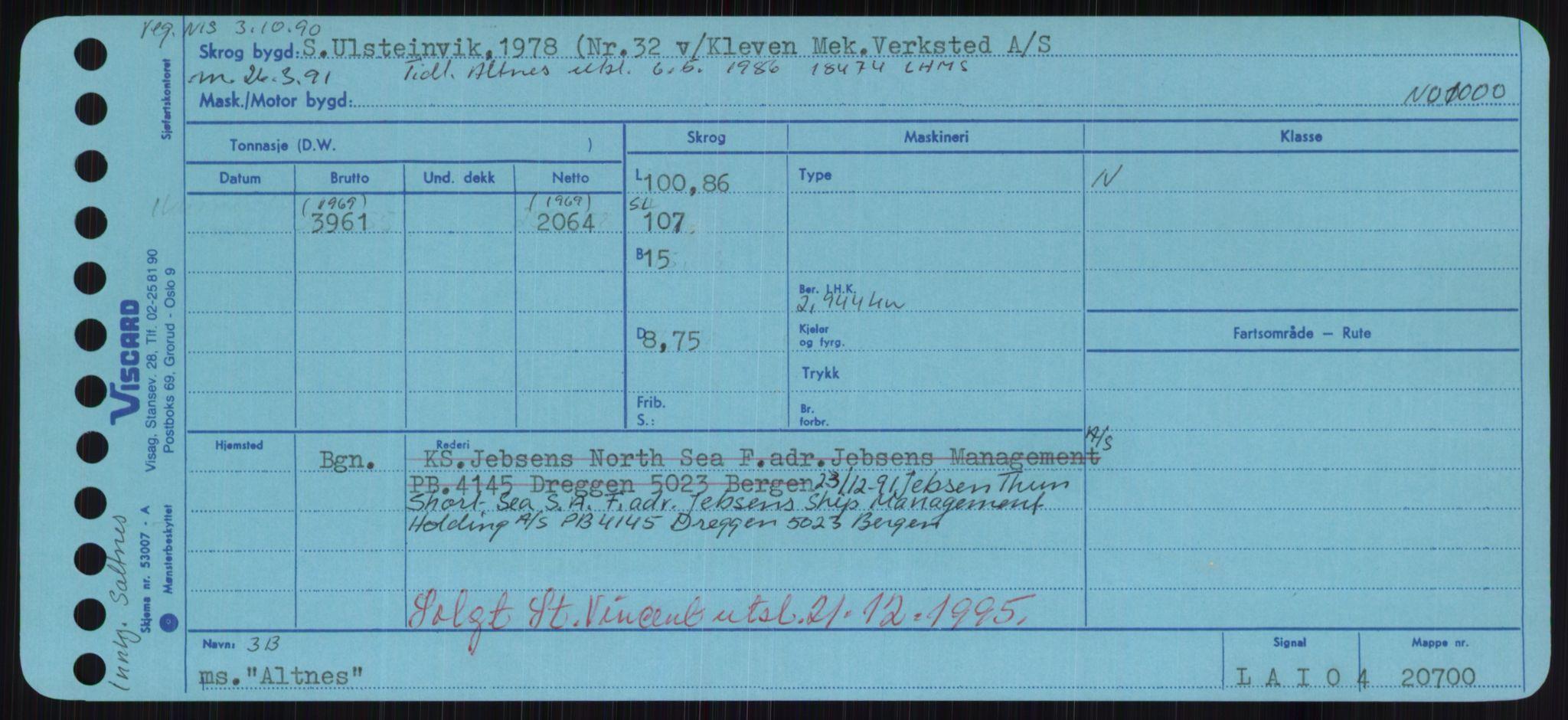 RA, Sjøfartsdirektoratet med forløpere, Skipsmålingen, H/Hd/L0001: Fartøy, A-Anv, s. 425