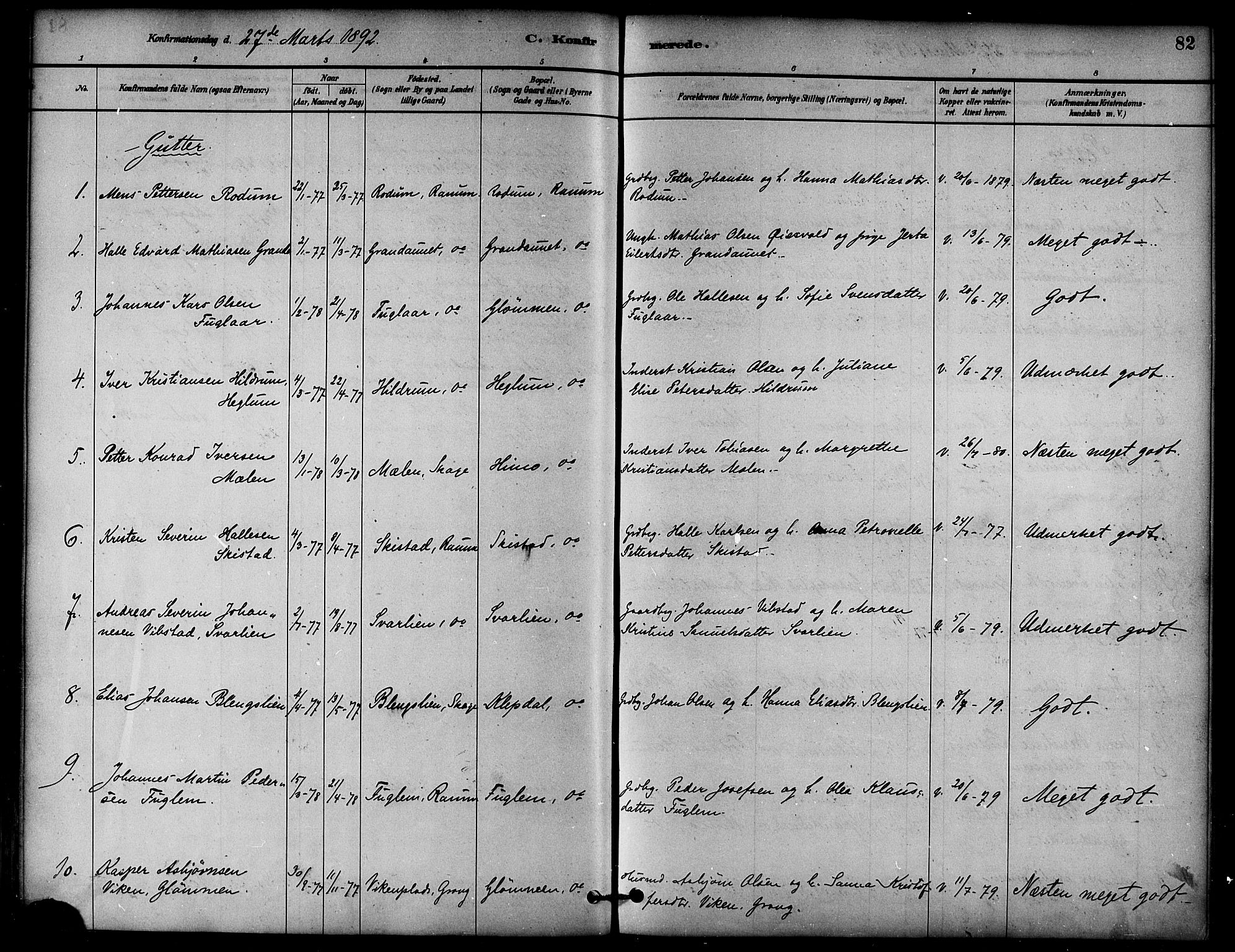 SAT, Ministerialprotokoller, klokkerbøker og fødselsregistre - Nord-Trøndelag, 764/L0555: Ministerialbok nr. 764A10, 1881-1896, s. 82