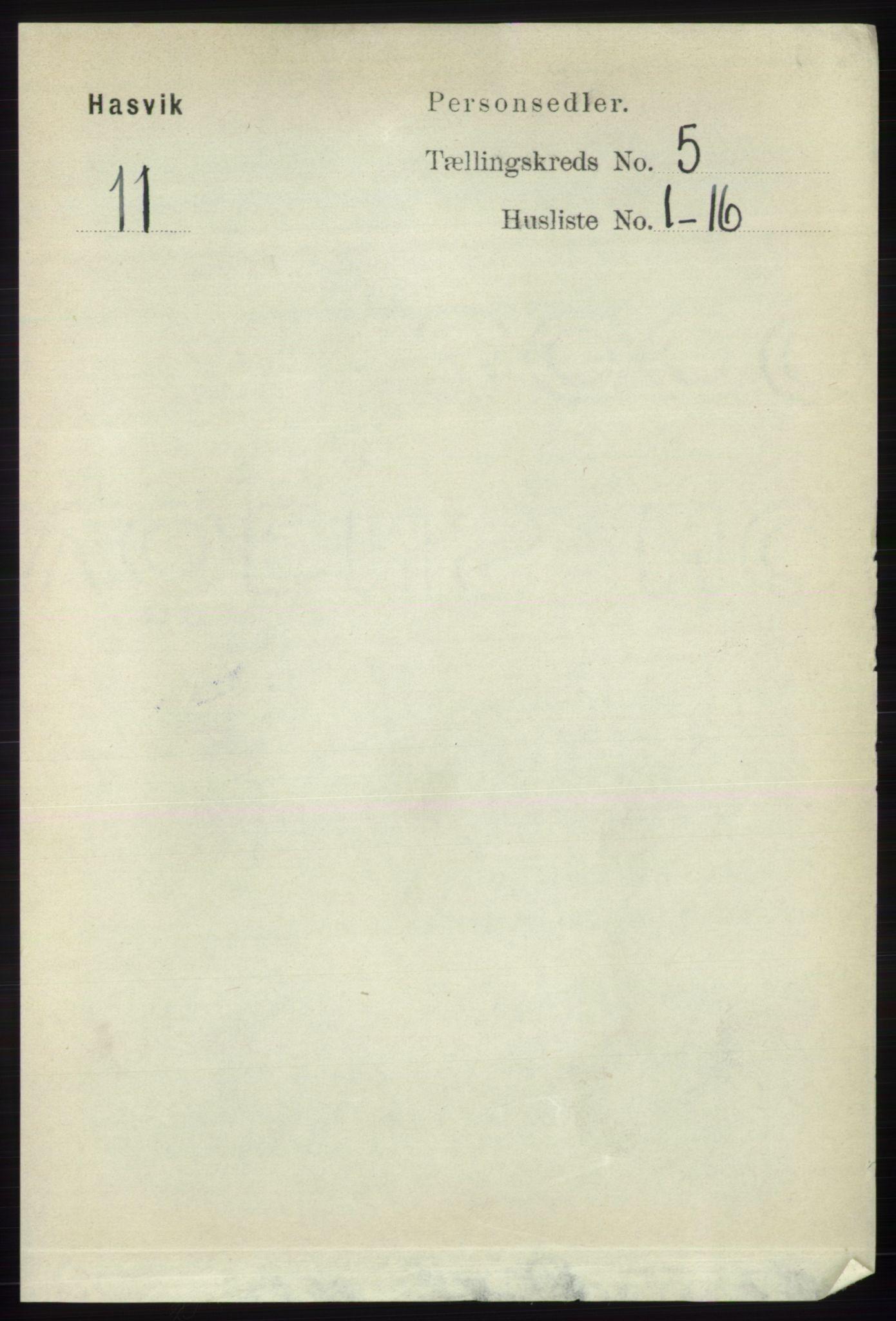 RA, Folketelling 1891 for 2015 Hasvik herred, 1891, s. 640