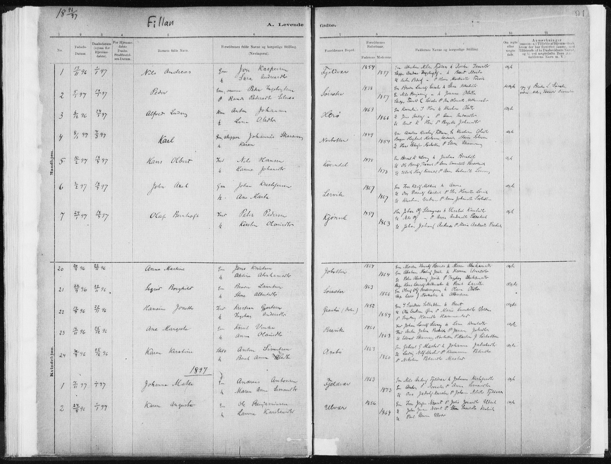 SAT, Ministerialprotokoller, klokkerbøker og fødselsregistre - Sør-Trøndelag, 637/L0558: Ministerialbok nr. 637A01, 1882-1899, s. 91