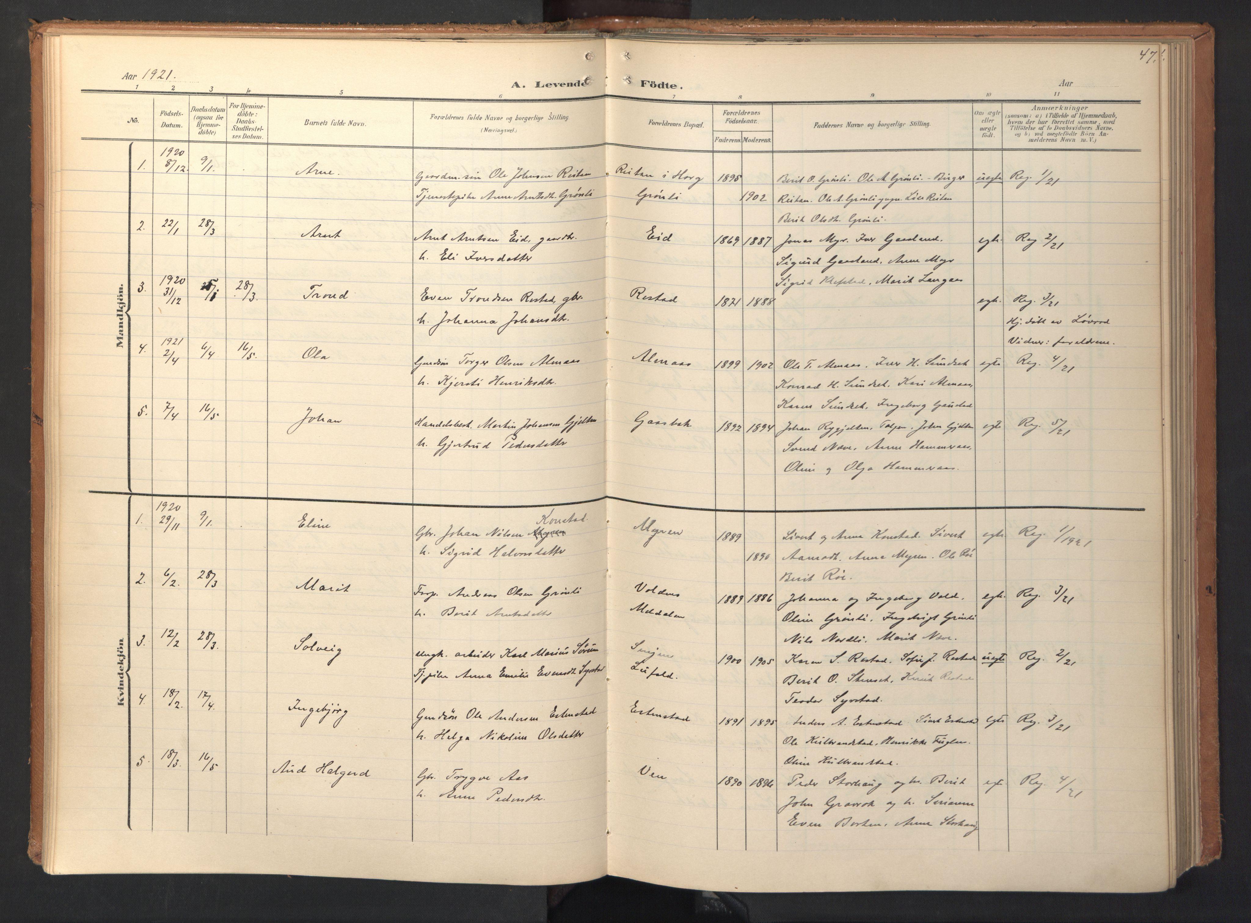 SAT, Ministerialprotokoller, klokkerbøker og fødselsregistre - Sør-Trøndelag, 694/L1128: Ministerialbok nr. 694A02, 1906-1931, s. 47