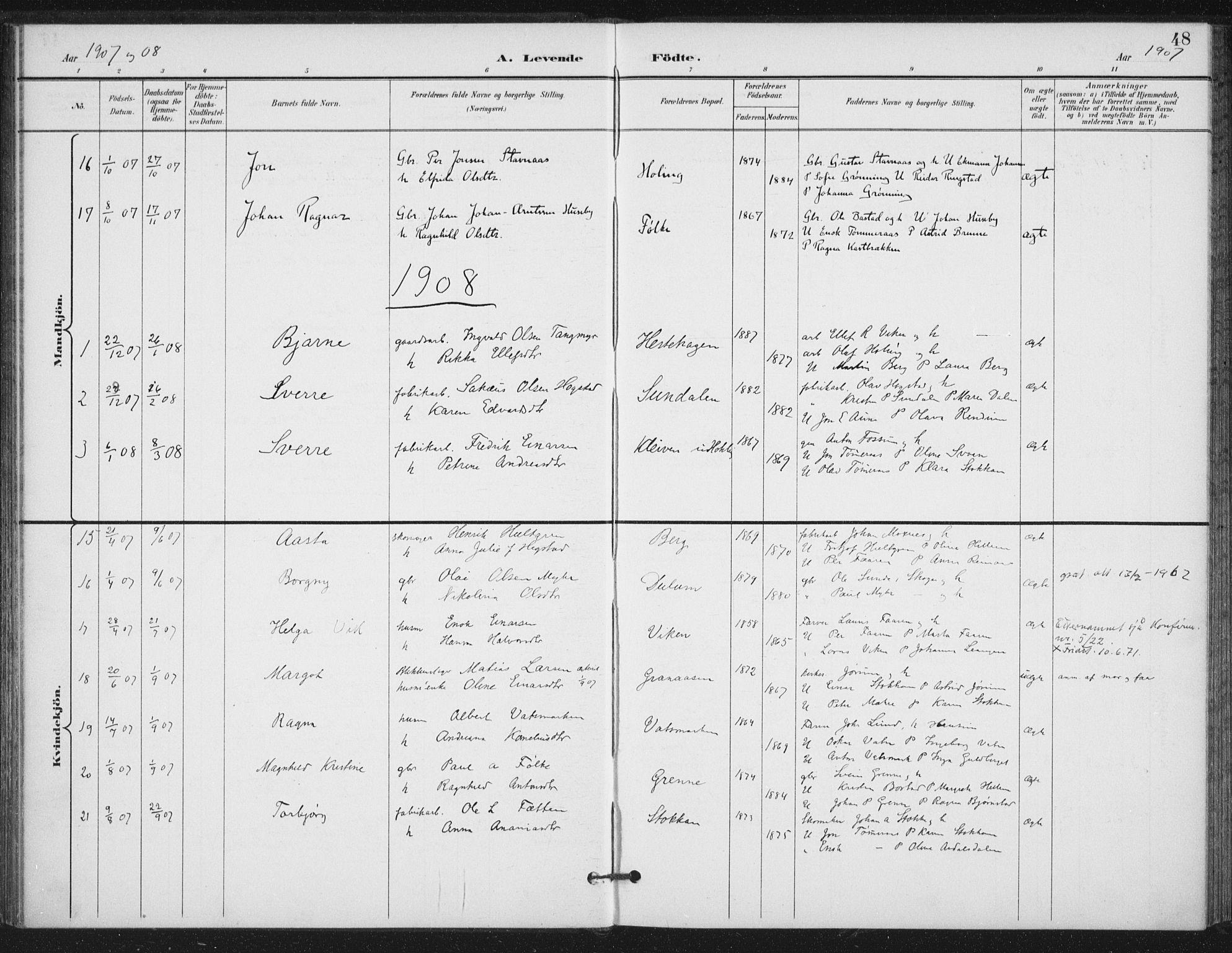 SAT, Ministerialprotokoller, klokkerbøker og fødselsregistre - Nord-Trøndelag, 714/L0131: Ministerialbok nr. 714A02, 1896-1918, s. 48