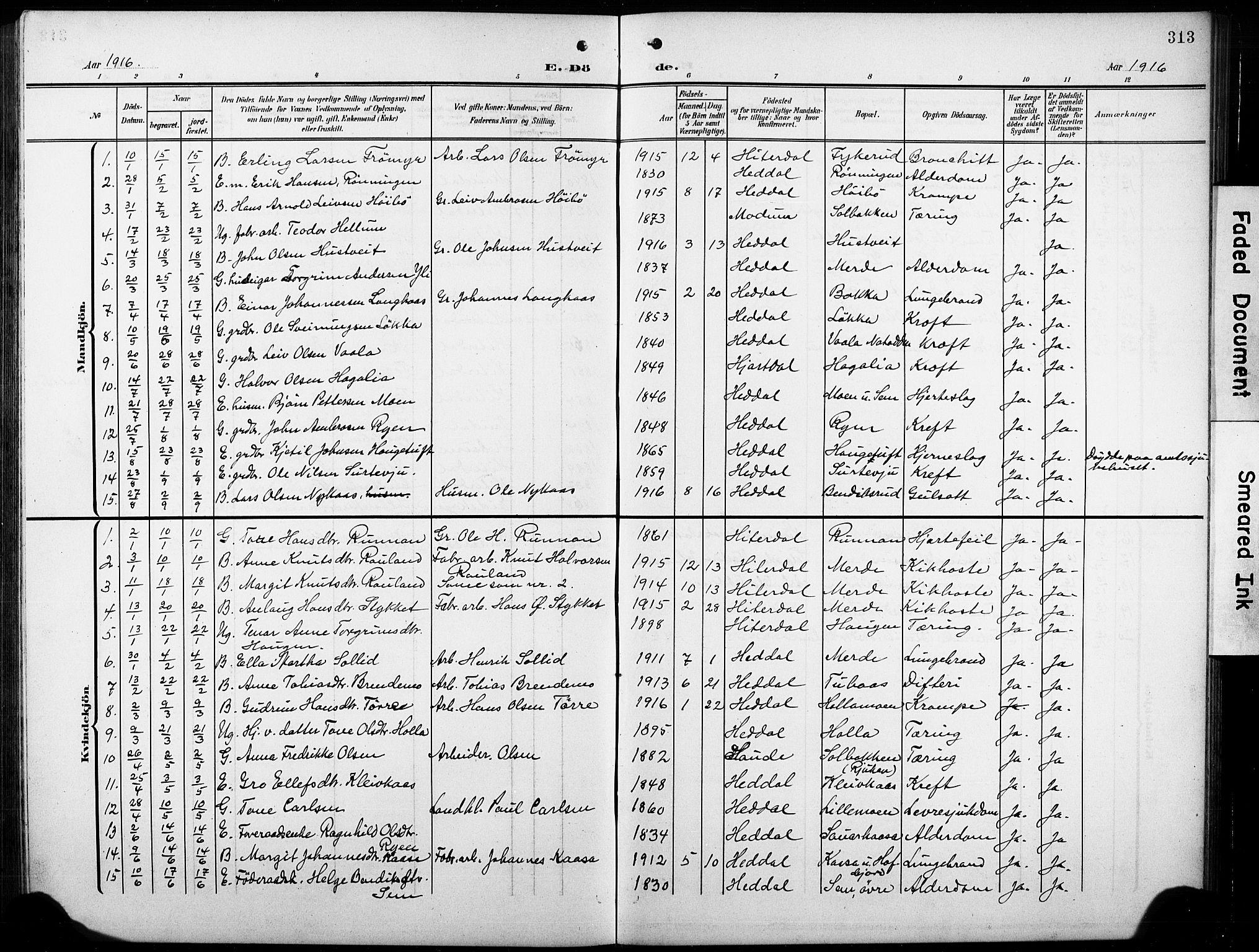 SAKO, Heddal kirkebøker, G/Ga/L0003: Klokkerbok nr. I 3, 1908-1932, s. 313
