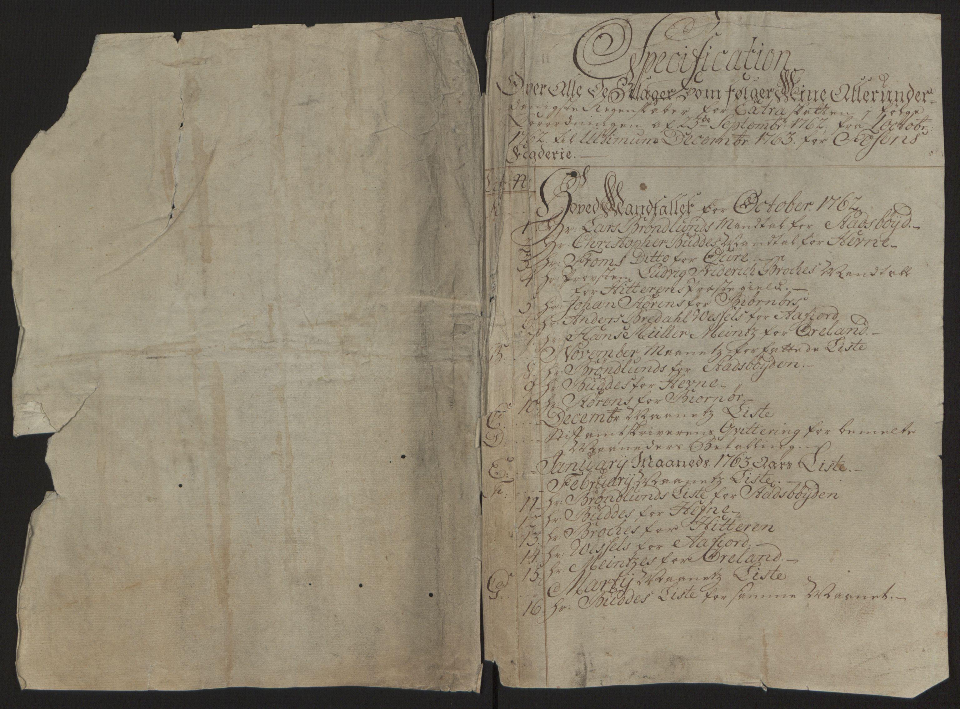 RA, Rentekammeret inntil 1814, Reviderte regnskaper, Fogderegnskap, R57/L3930: Ekstraskatten Fosen, 1762-1763, s. 14