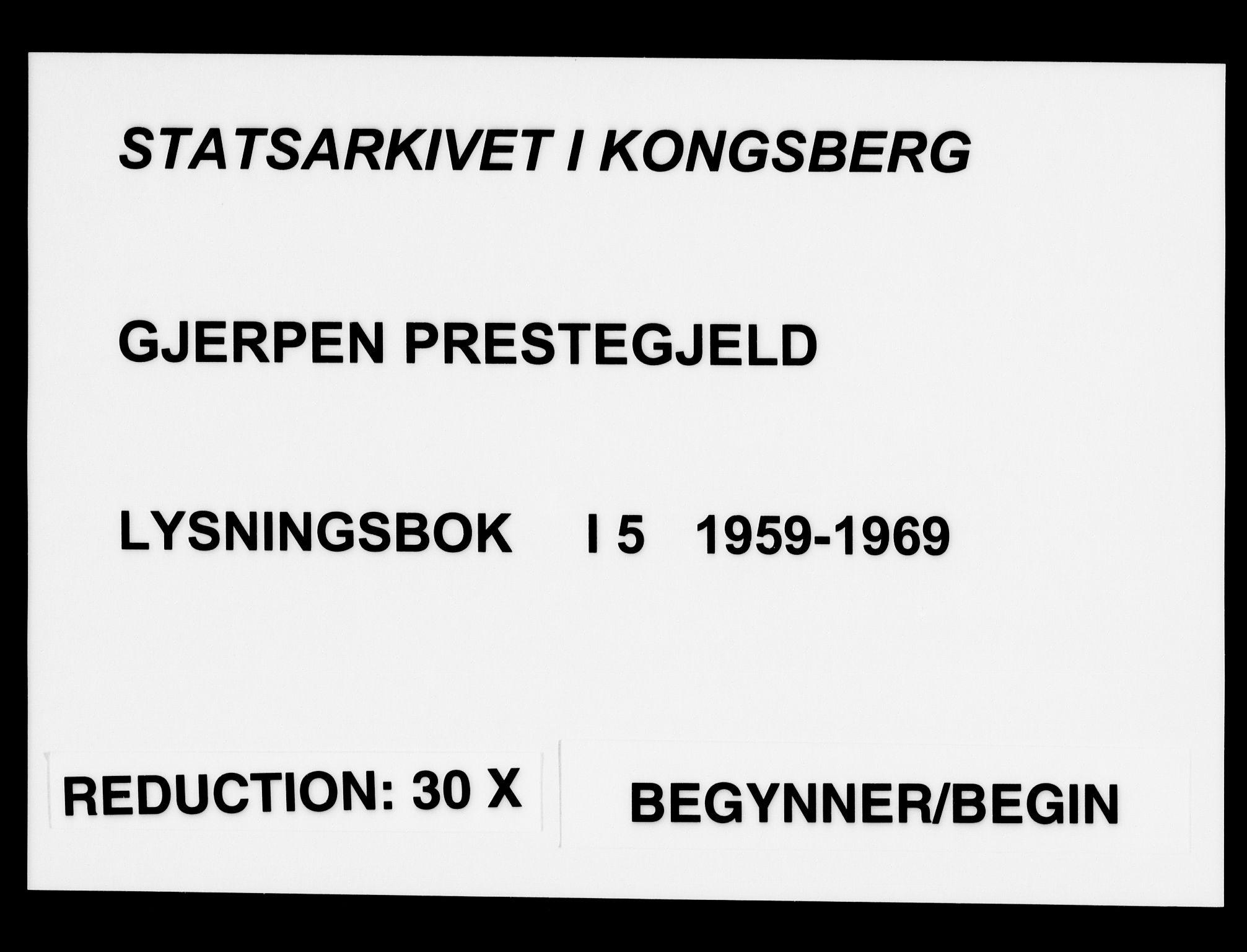 SAKO, Gjerpen kirkebøker, H/Ha/L0005: Lysningsprotokoll nr. I 5, 1959-1969