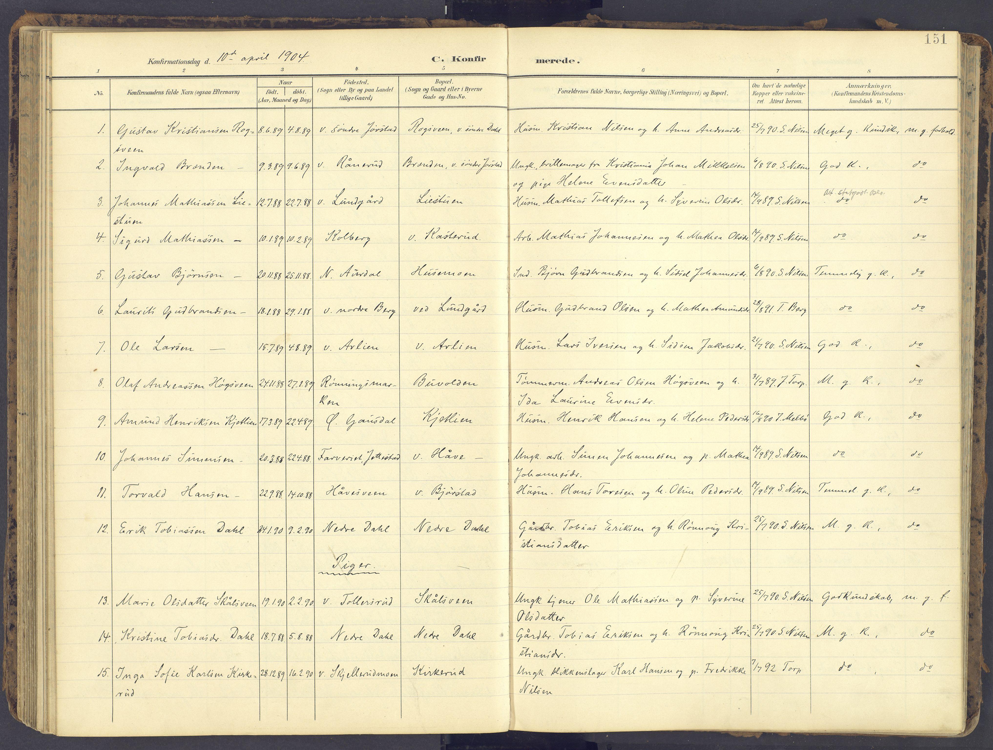 SAH, Fåberg prestekontor, Ministerialbok nr. 12, 1899-1915, s. 151