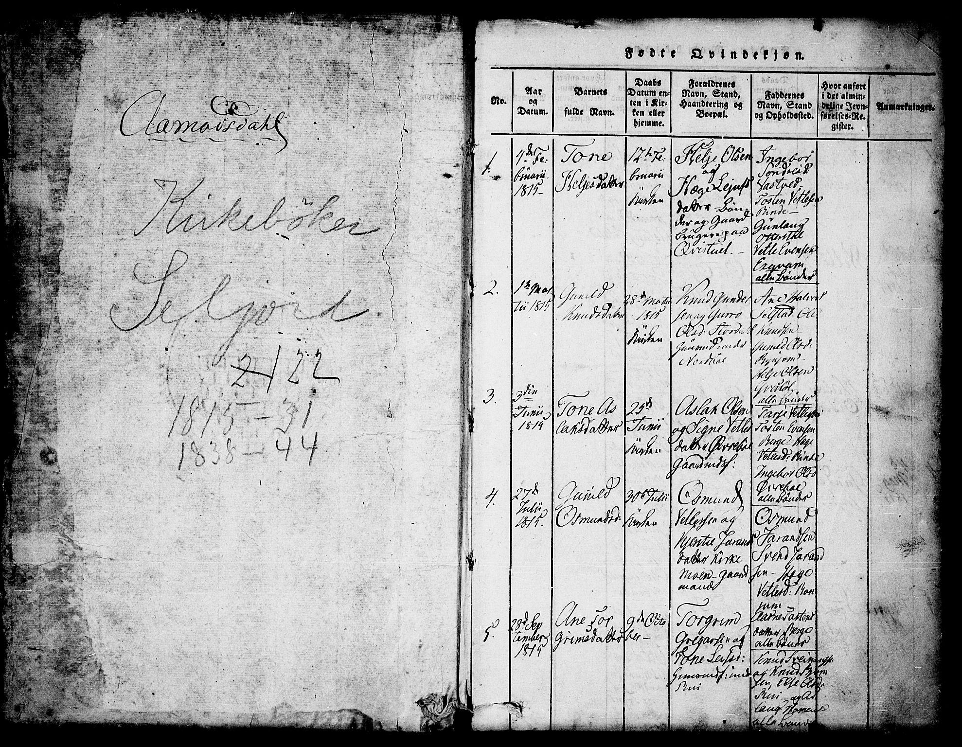 SAKO, Seljord kirkebøker, F/Fc/L0001: Ministerialbok nr. III 1, 1815-1831, s. 1