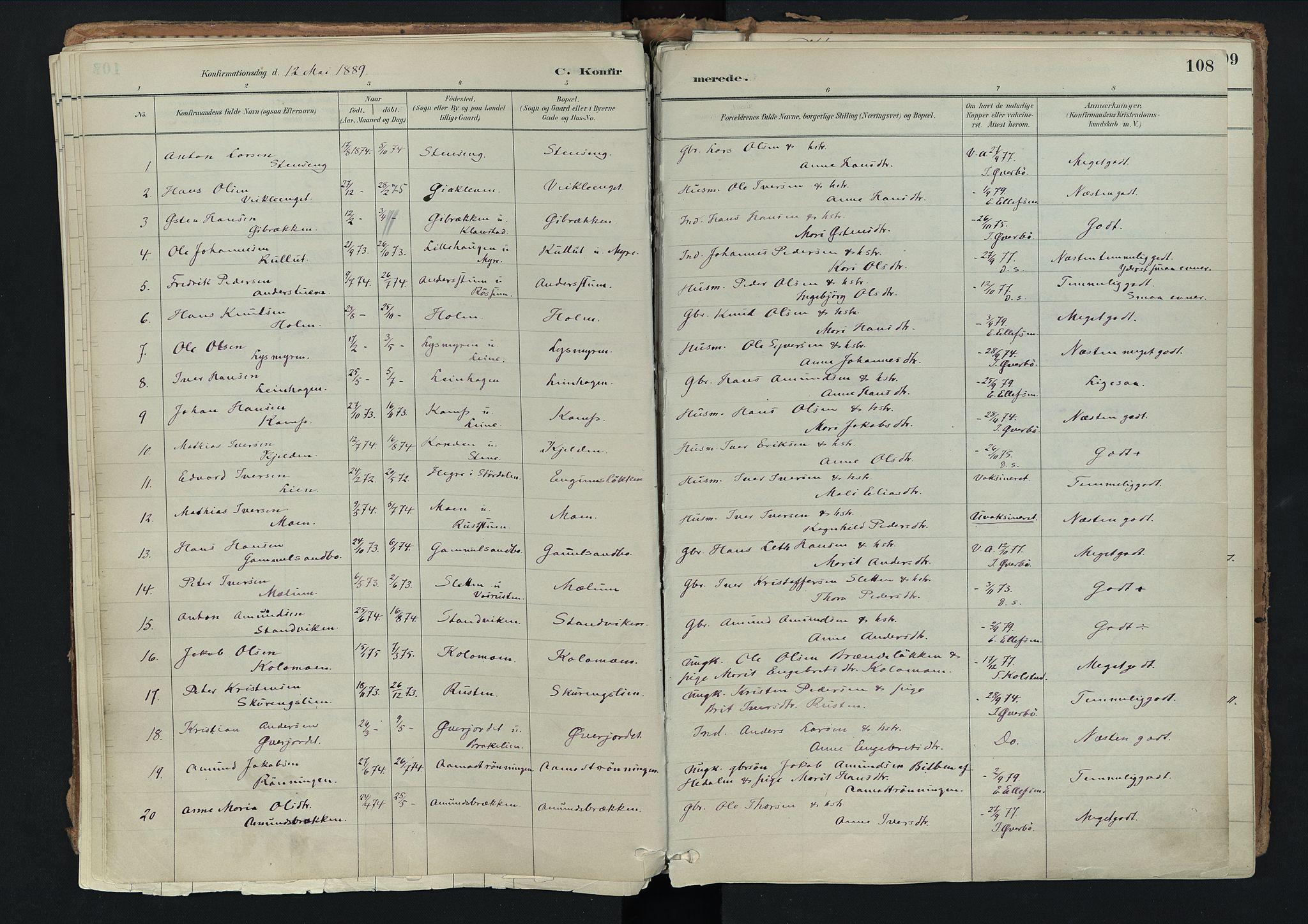 SAH, Nord-Fron prestekontor, Ministerialbok nr. 3, 1884-1914, s. 108