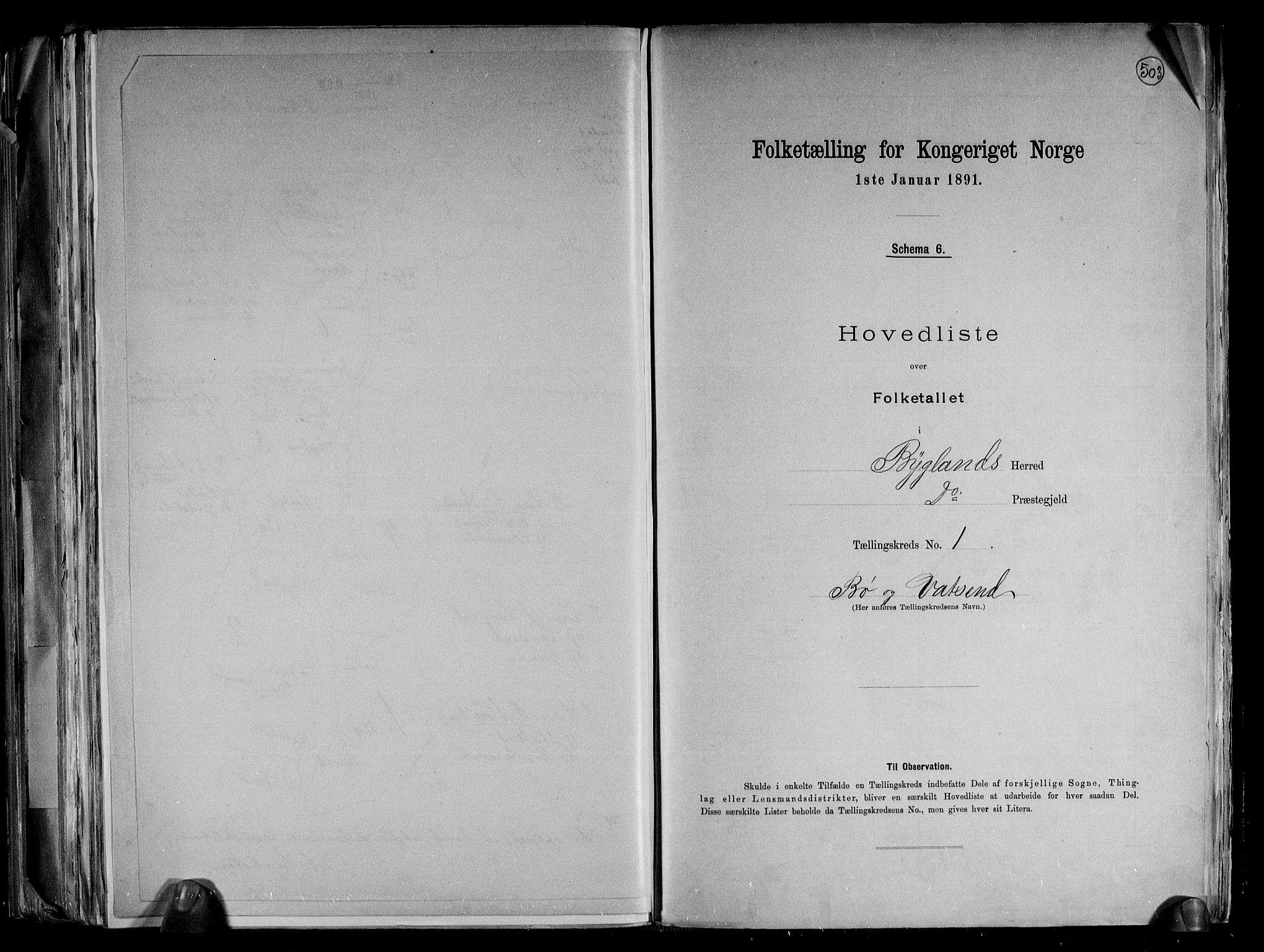 RA, Folketelling 1891 for 0938 Bygland herred, 1891, s. 6