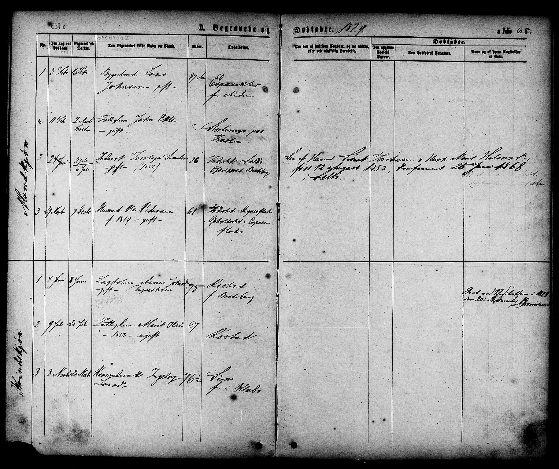 SAT, Ministerialprotokoller, klokkerbøker og fødselsregistre - Sør-Trøndelag, 608/L0334: Ministerialbok nr. 608A03, 1877-1886, s. 68
