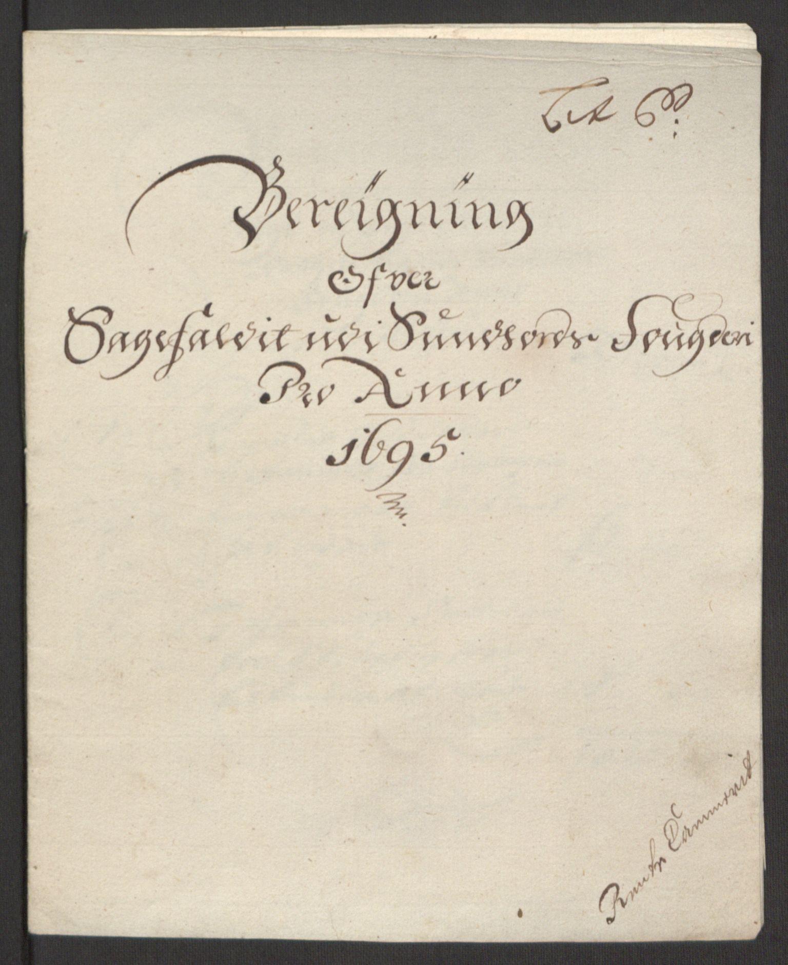 RA, Rentekammeret inntil 1814, Reviderte regnskaper, Fogderegnskap, R48/L2976: Fogderegnskap Sunnhordland og Hardanger, 1695-1696, s. 101