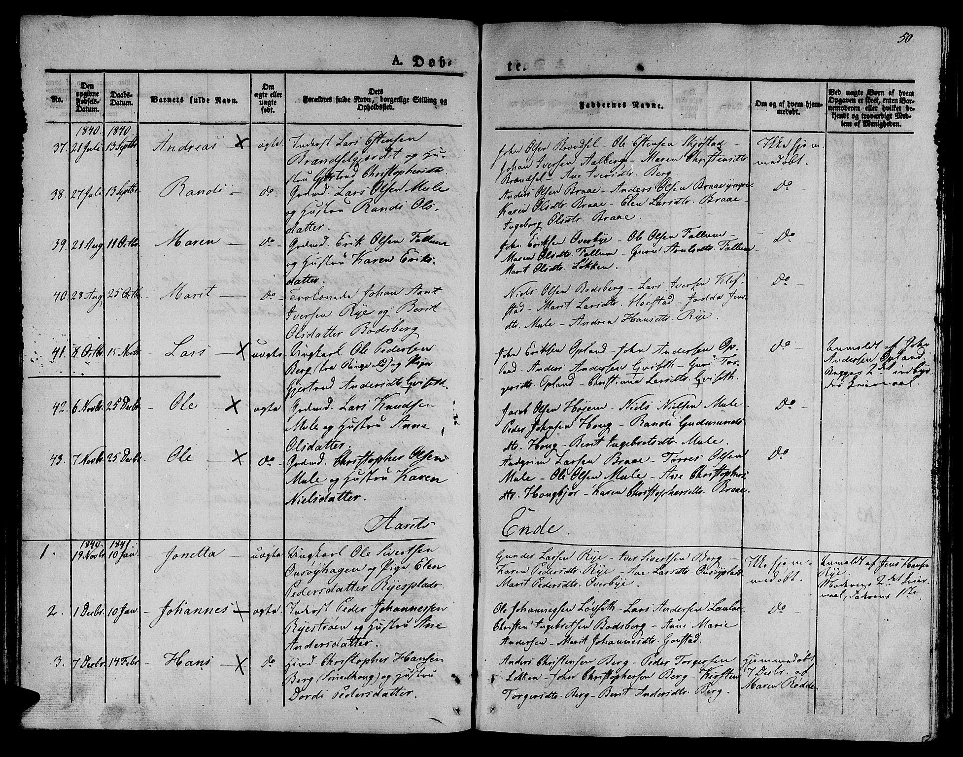 SAT, Ministerialprotokoller, klokkerbøker og fødselsregistre - Sør-Trøndelag, 612/L0374: Ministerialbok nr. 612A07 /1, 1829-1845, s. 50
