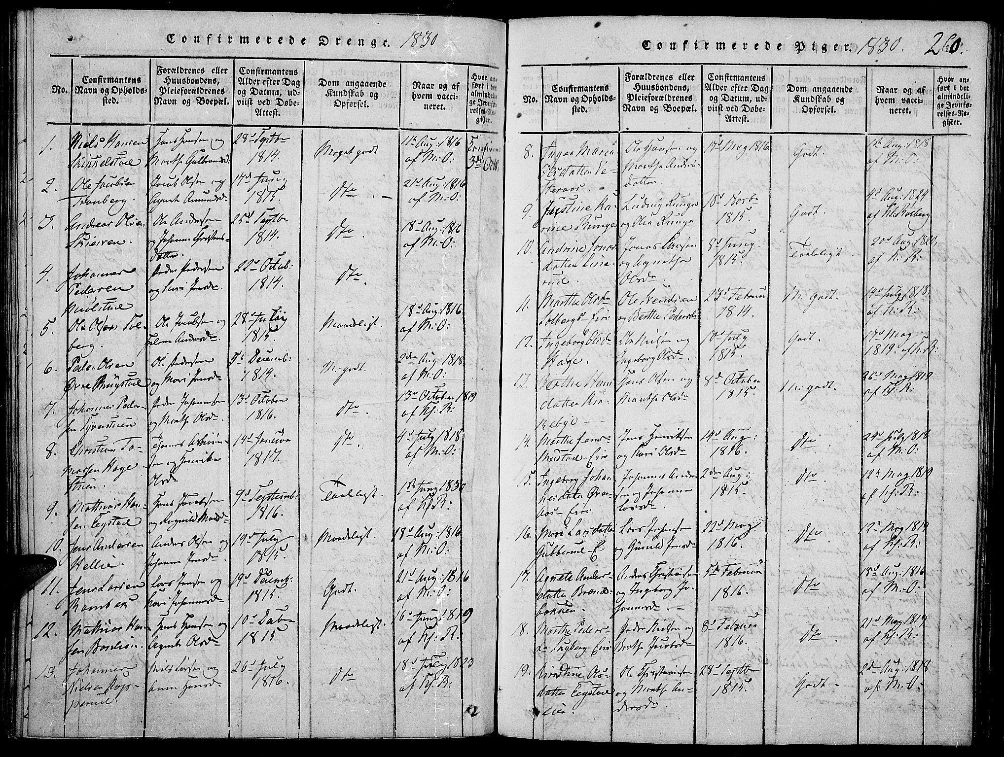 SAH, Vardal prestekontor, H/Ha/Haa/L0004: Ministerialbok nr. 4, 1814-1831, s. 260
