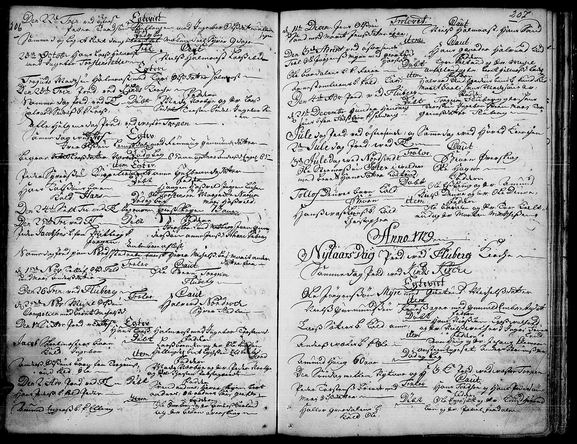 SAH, Land prestekontor, Ministerialbok nr. 1, 1708-1732, s. 206-207