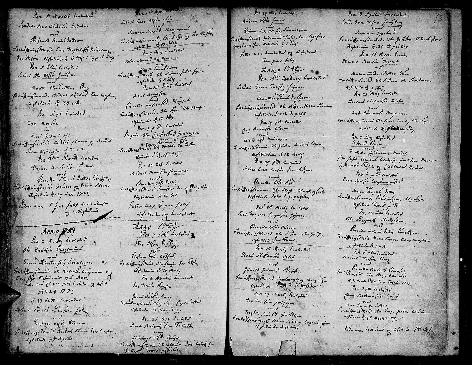 SAT, Ministerialprotokoller, klokkerbøker og fødselsregistre - Sør-Trøndelag, 612/L0368: Ministerialbok nr. 612A02, 1702-1753, s. 72