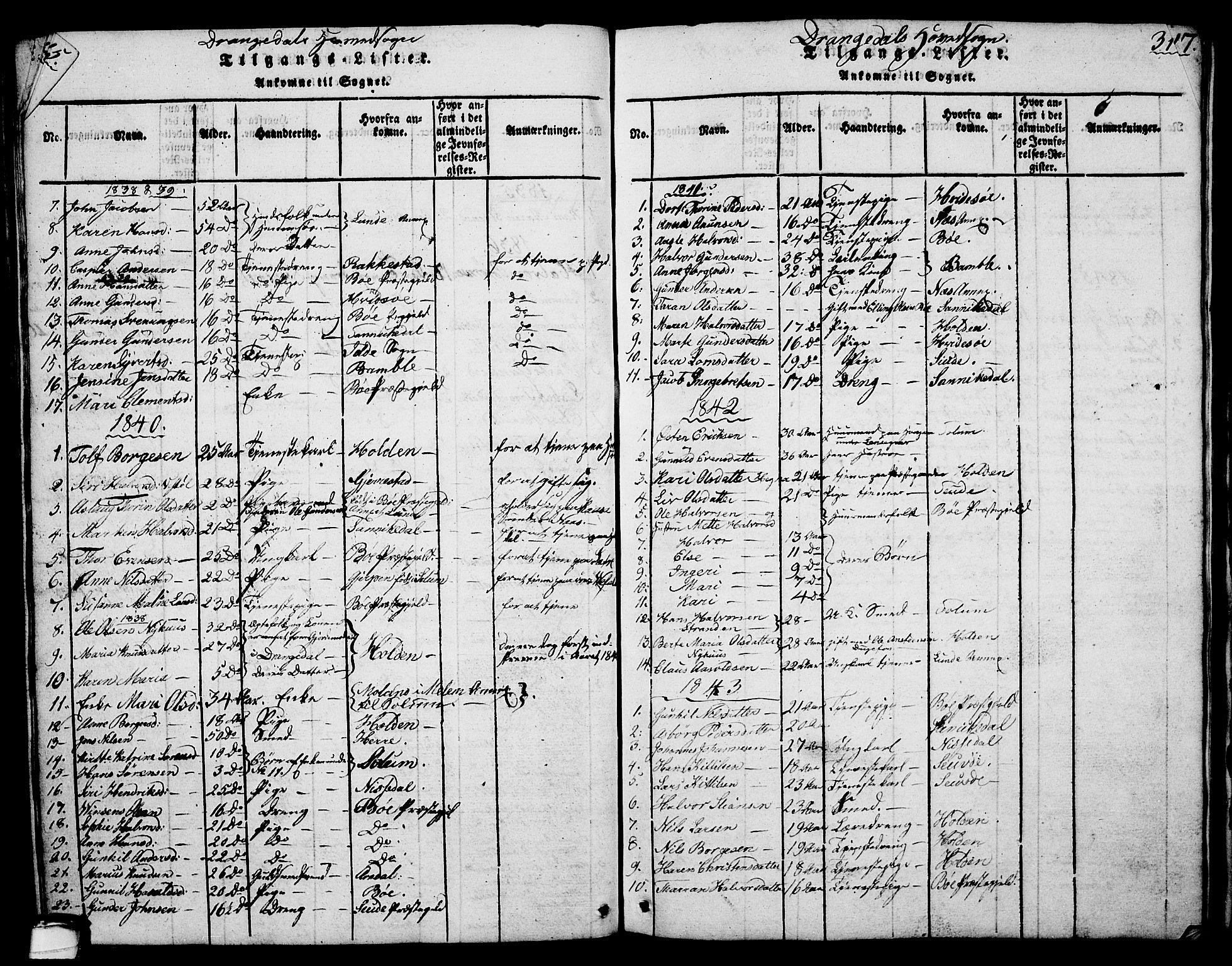 SAKO, Drangedal kirkebøker, G/Ga/L0001: Klokkerbok nr. I 1 /1, 1814-1856, s. 316