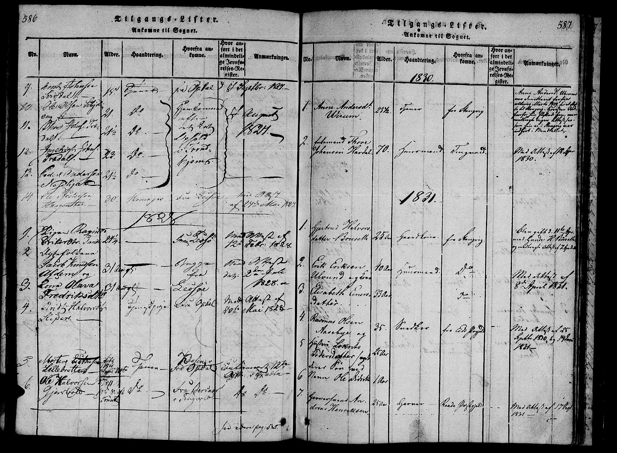SAT, Ministerialprotokoller, klokkerbøker og fødselsregistre - Møre og Romsdal, 590/L1009: Ministerialbok nr. 590A03 /1, 1819-1832, s. 586-587