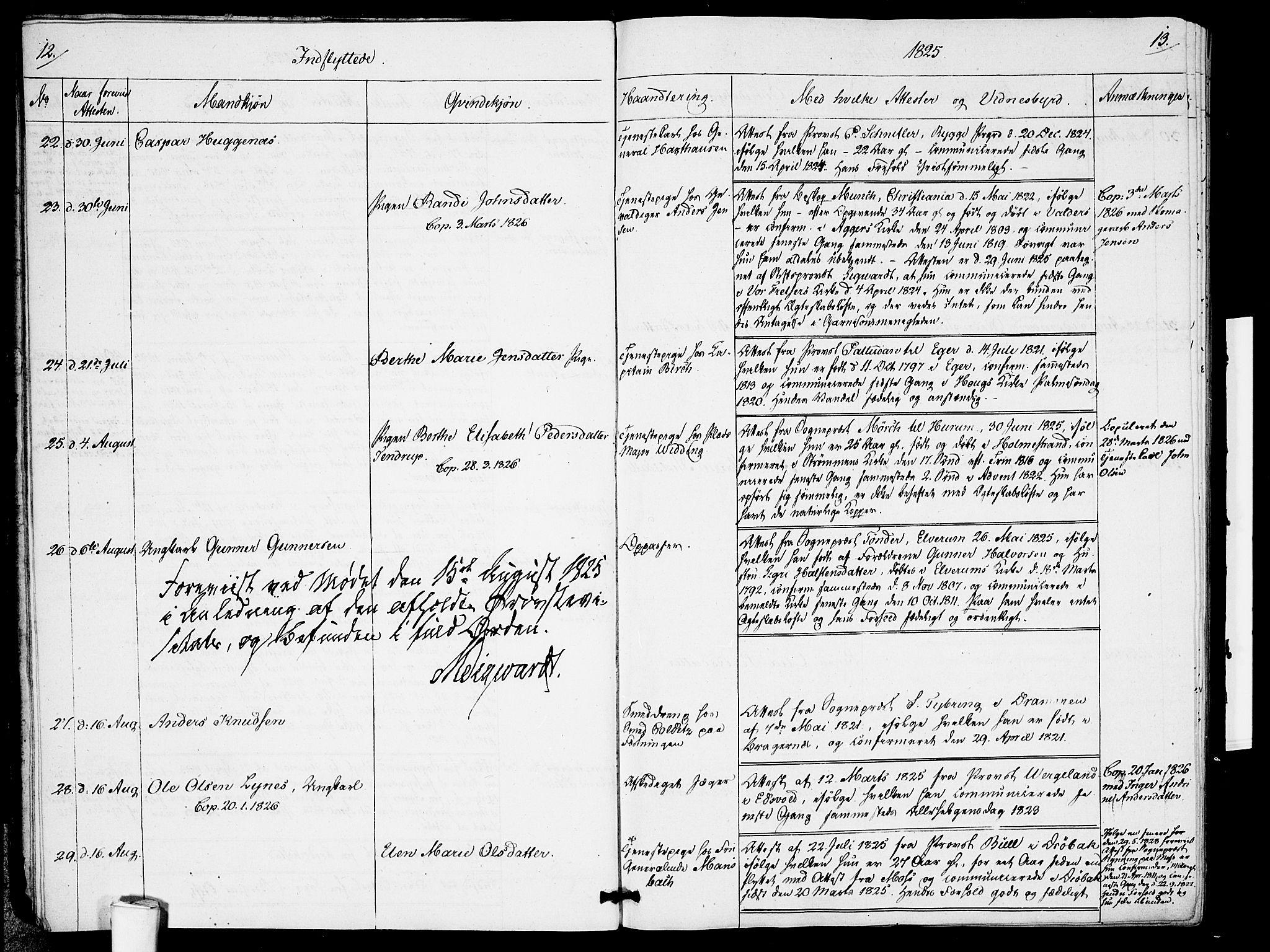 SAO, Garnisonsmenigheten Kirkebøker, F/Fa/L0005: Ministerialbok nr. 5, 1824-1830, s. 12-13