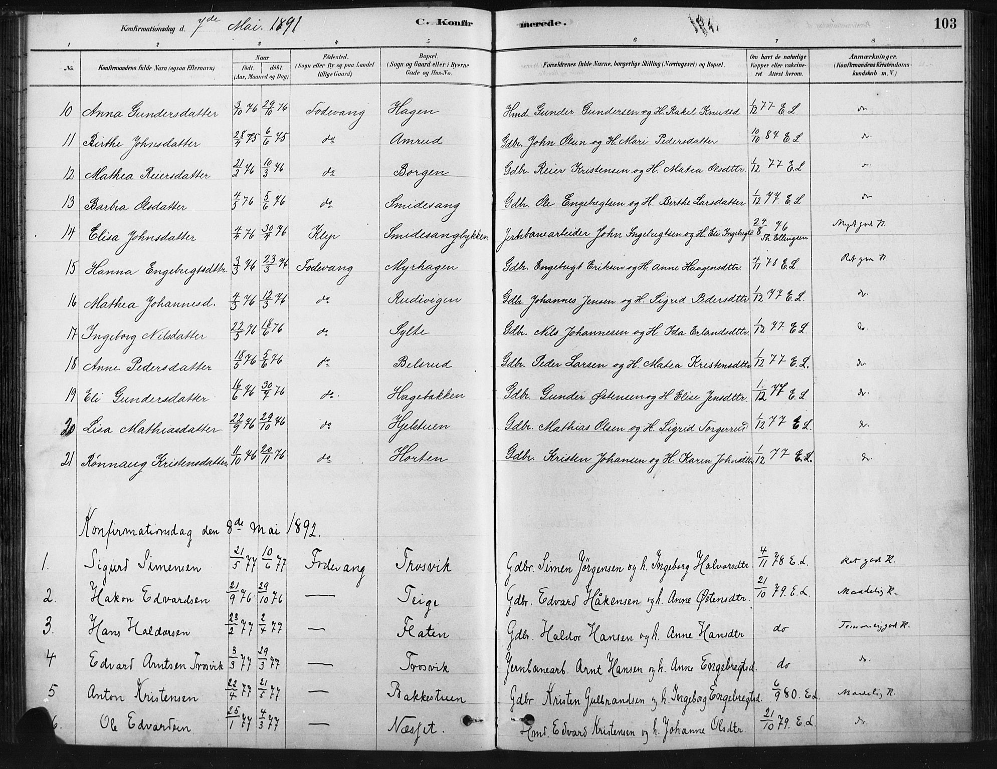 SAH, Ringebu prestekontor, Ministerialbok nr. 9, 1878-1898, s. 103