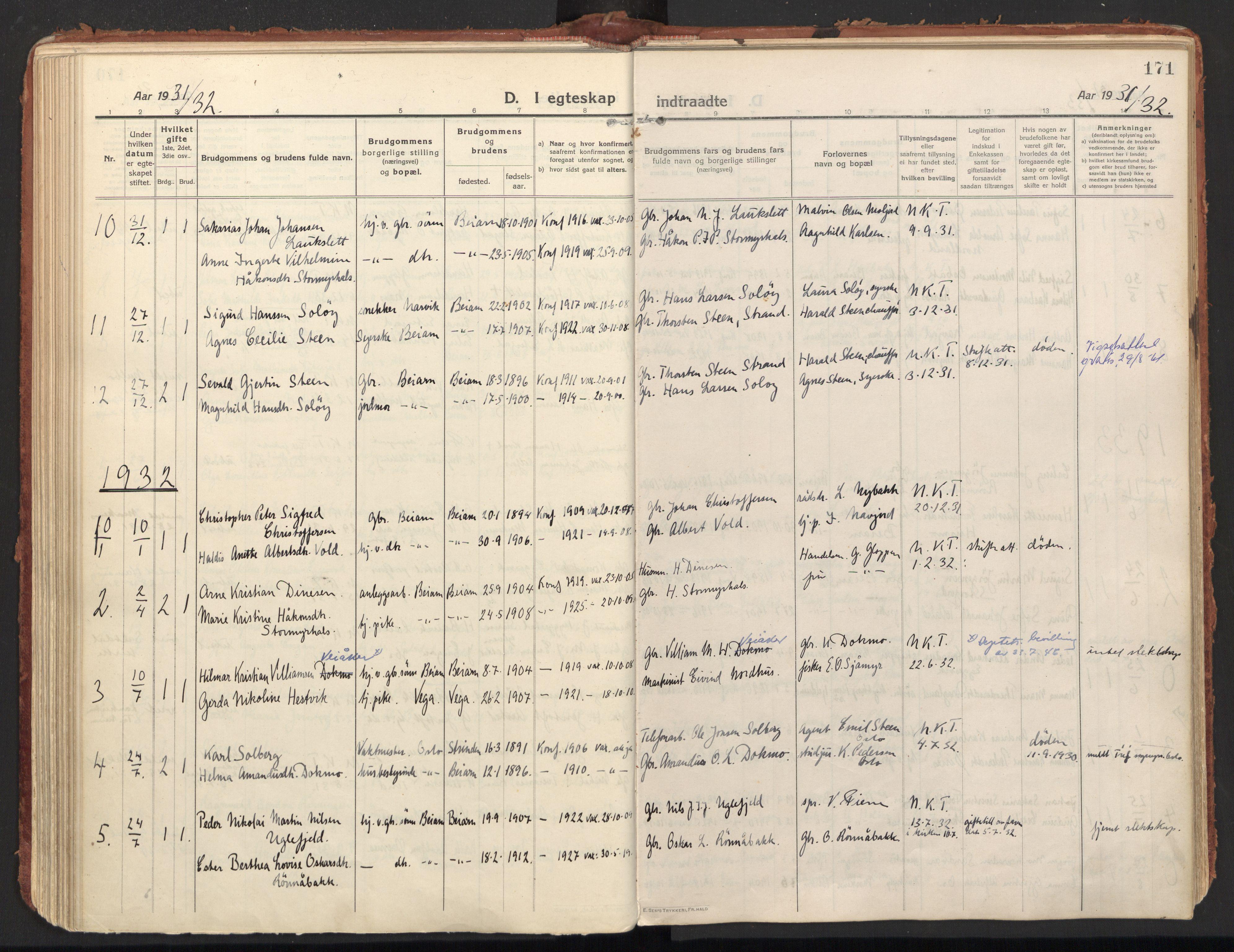 SAT, Ministerialprotokoller, klokkerbøker og fødselsregistre - Nordland, 846/L0650: Ministerialbok nr. 846A08, 1916-1935, s. 171