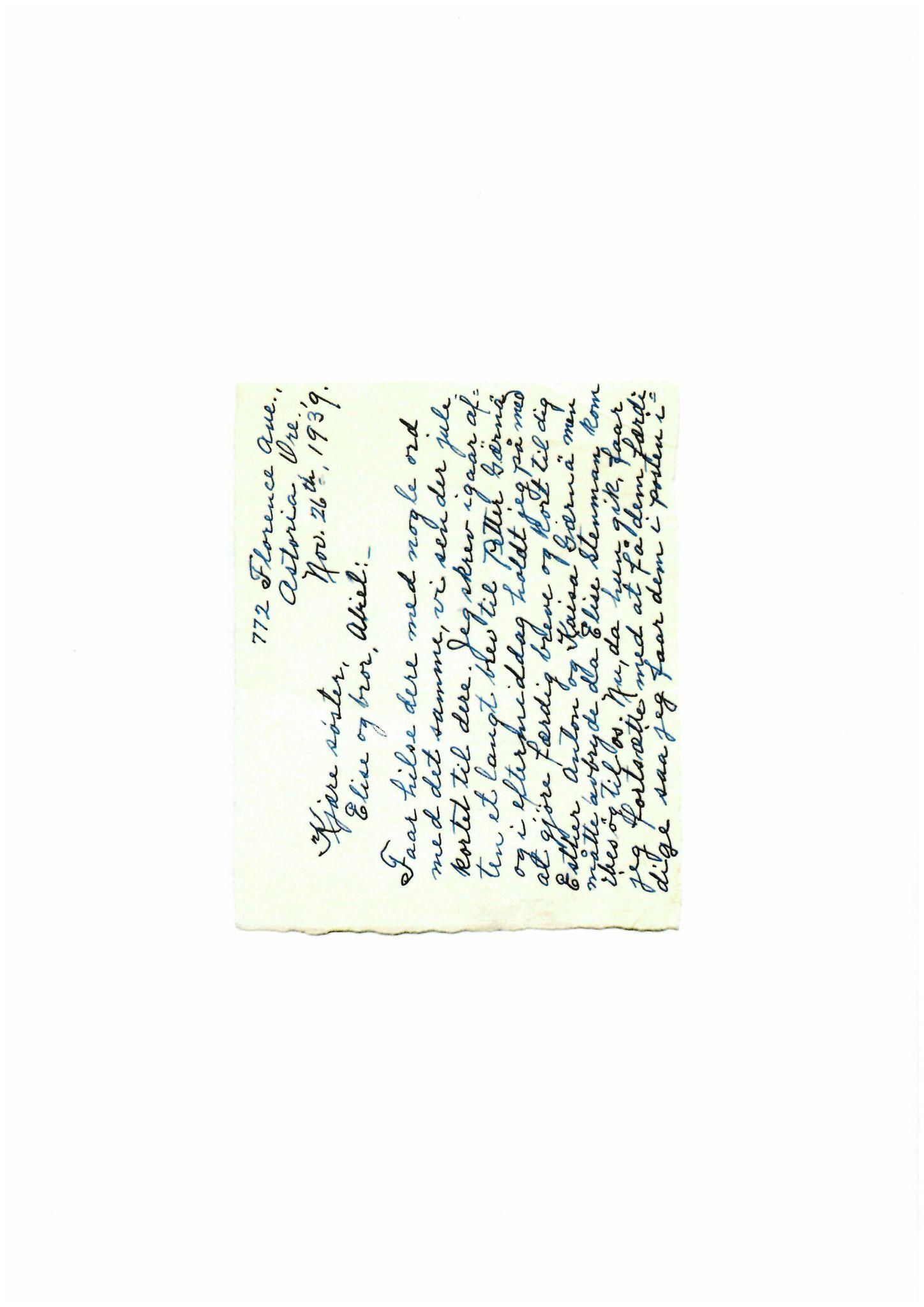 FMFB, Elise Balos brevsamling, F/Fb/L0008: Brev fra Hans J. Lilleeng til Elise Balo. Datert i Astoria , 1939