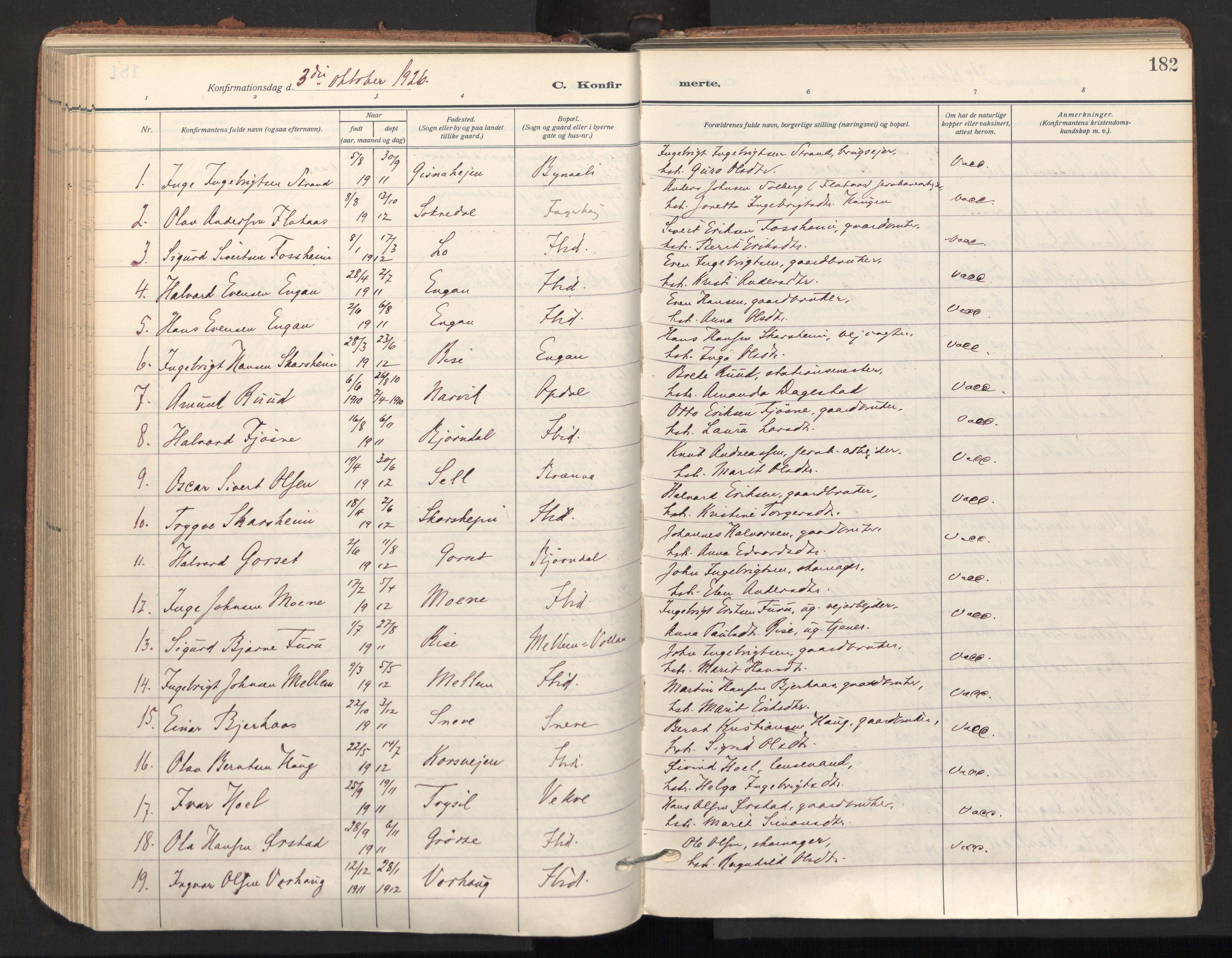SAT, Ministerialprotokoller, klokkerbøker og fødselsregistre - Sør-Trøndelag, 678/L0909: Ministerialbok nr. 678A17, 1912-1930, s. 182