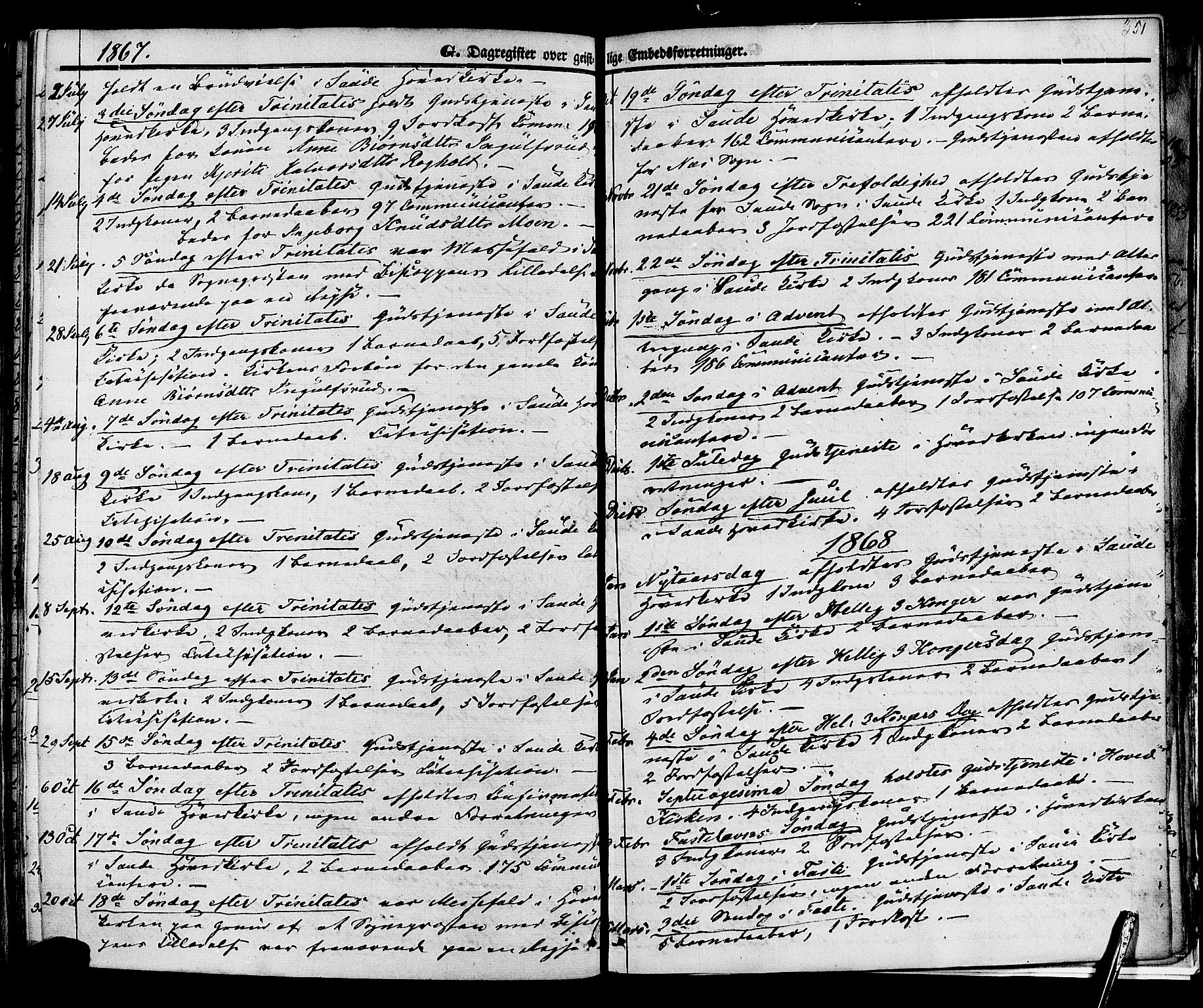SAKO, Sauherad kirkebøker, F/Fa/L0007: Ministerialbok nr. I 7, 1851-1873, s. 351