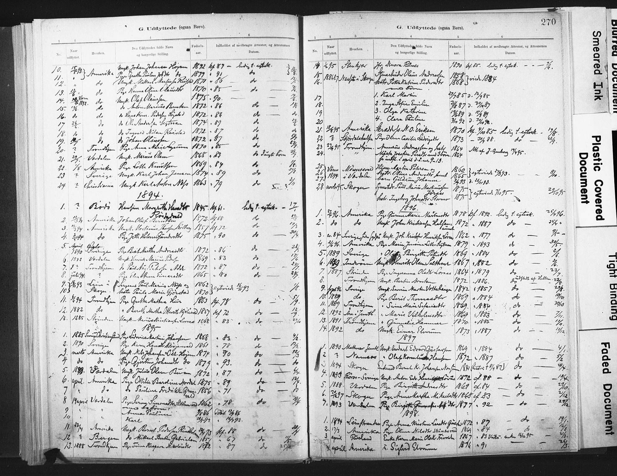 SAT, Ministerialprotokoller, klokkerbøker og fødselsregistre - Nord-Trøndelag, 721/L0207: Ministerialbok nr. 721A02, 1880-1911, s. 270