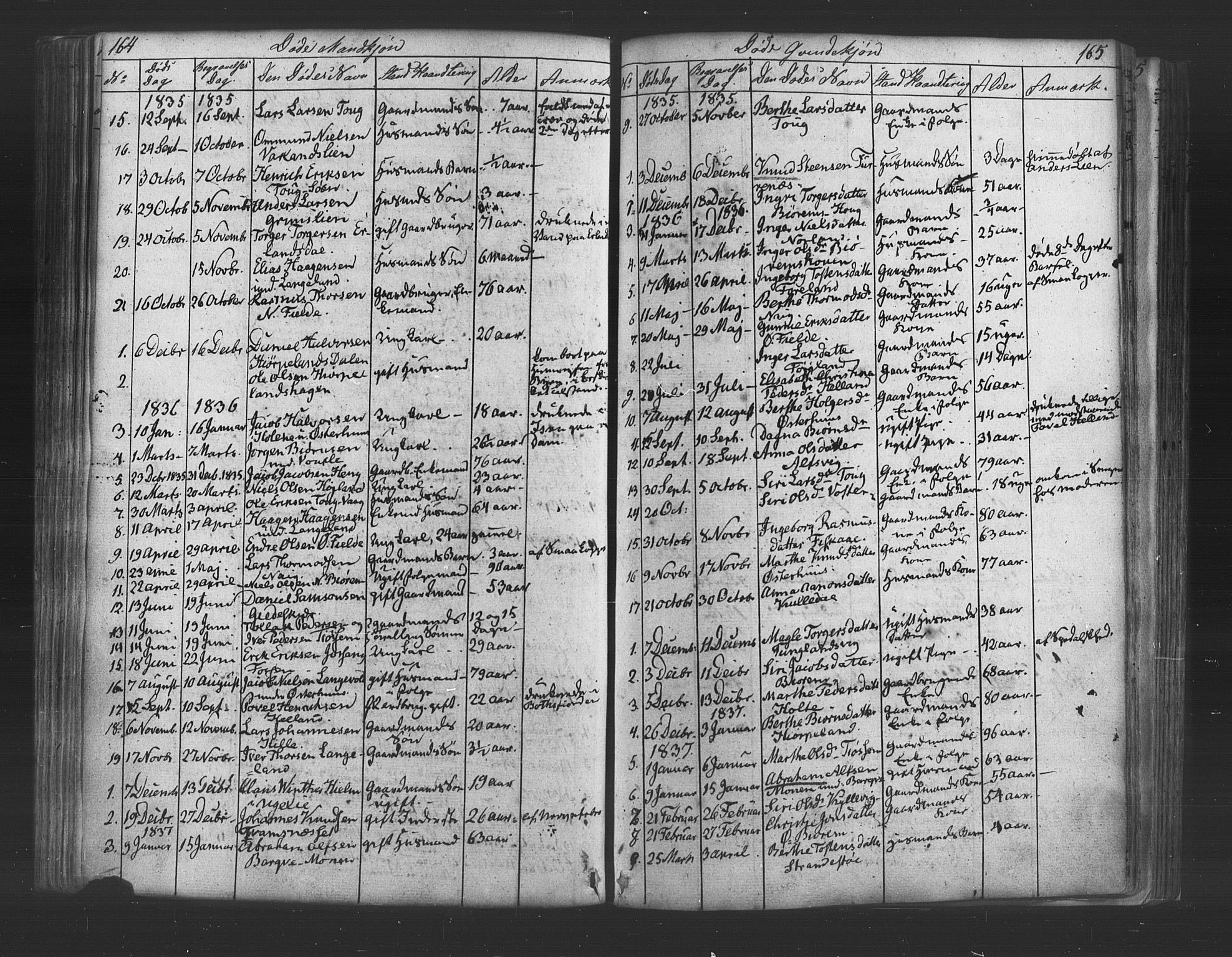 SAST, Strand sokneprestkontor, H/Ha/Haa/L0006: Ministerialbok nr. A 6, 1834-1854, s. 164-165