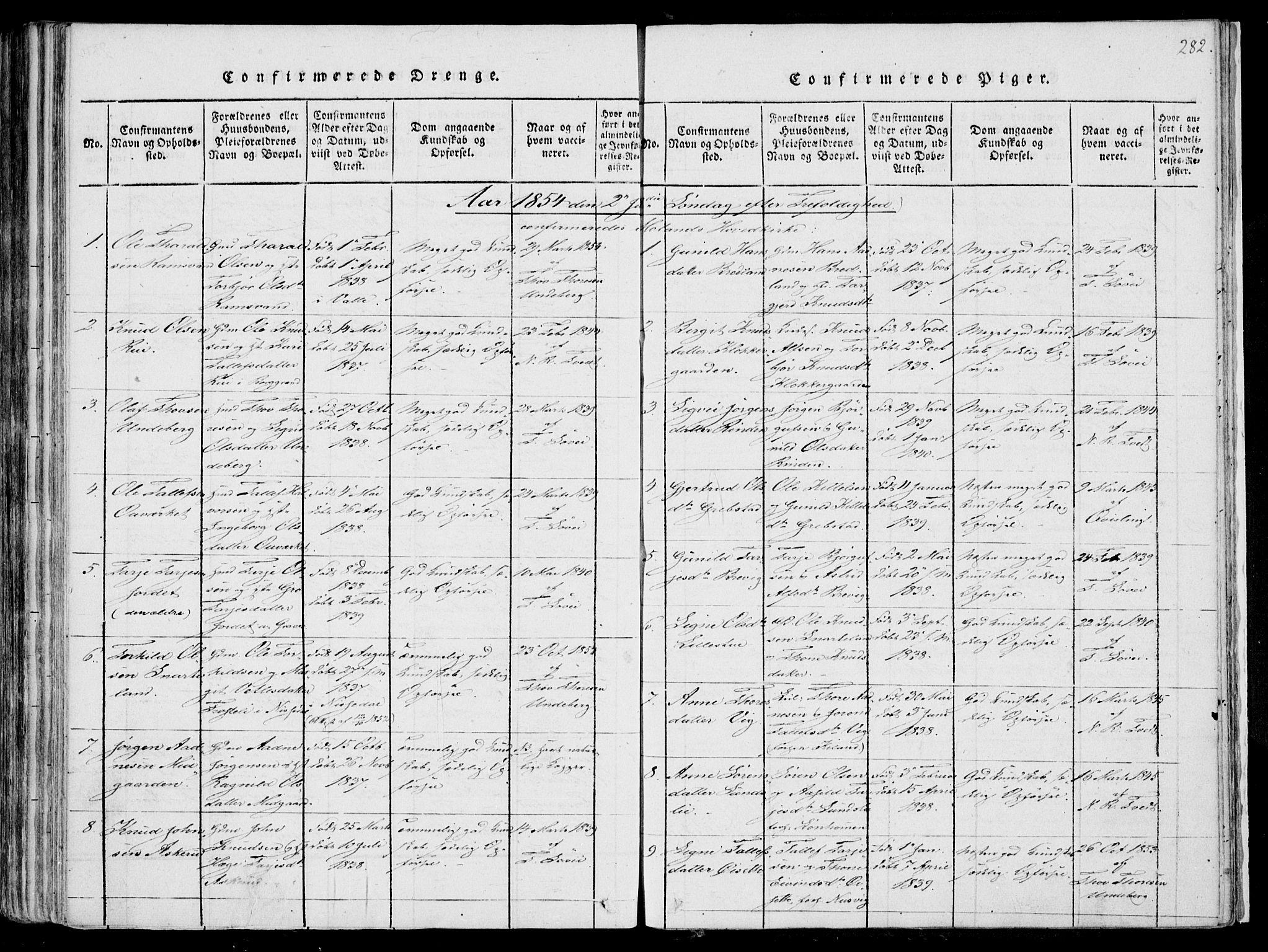 SAKO, Fyresdal kirkebøker, F/Fa/L0004: Ministerialbok nr. I 4, 1815-1854, s. 282