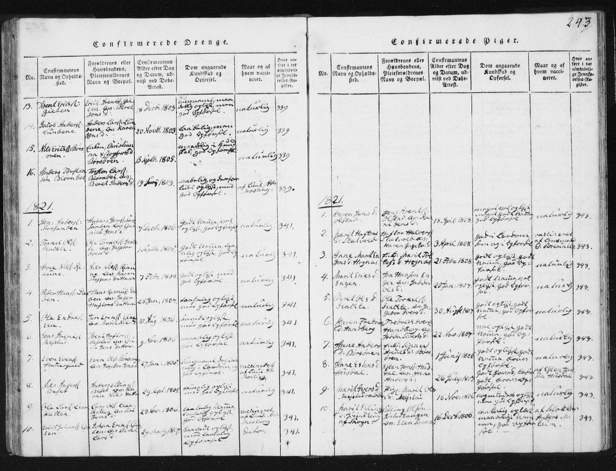 SAT, Ministerialprotokoller, klokkerbøker og fødselsregistre - Sør-Trøndelag, 665/L0770: Ministerialbok nr. 665A05, 1817-1829, s. 243