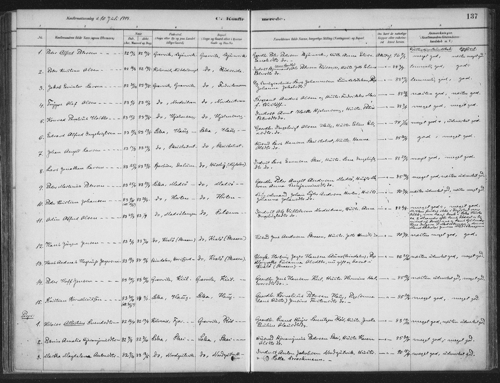 SAT, Ministerialprotokoller, klokkerbøker og fødselsregistre - Nord-Trøndelag, 788/L0697: Ministerialbok nr. 788A04, 1878-1902, s. 137