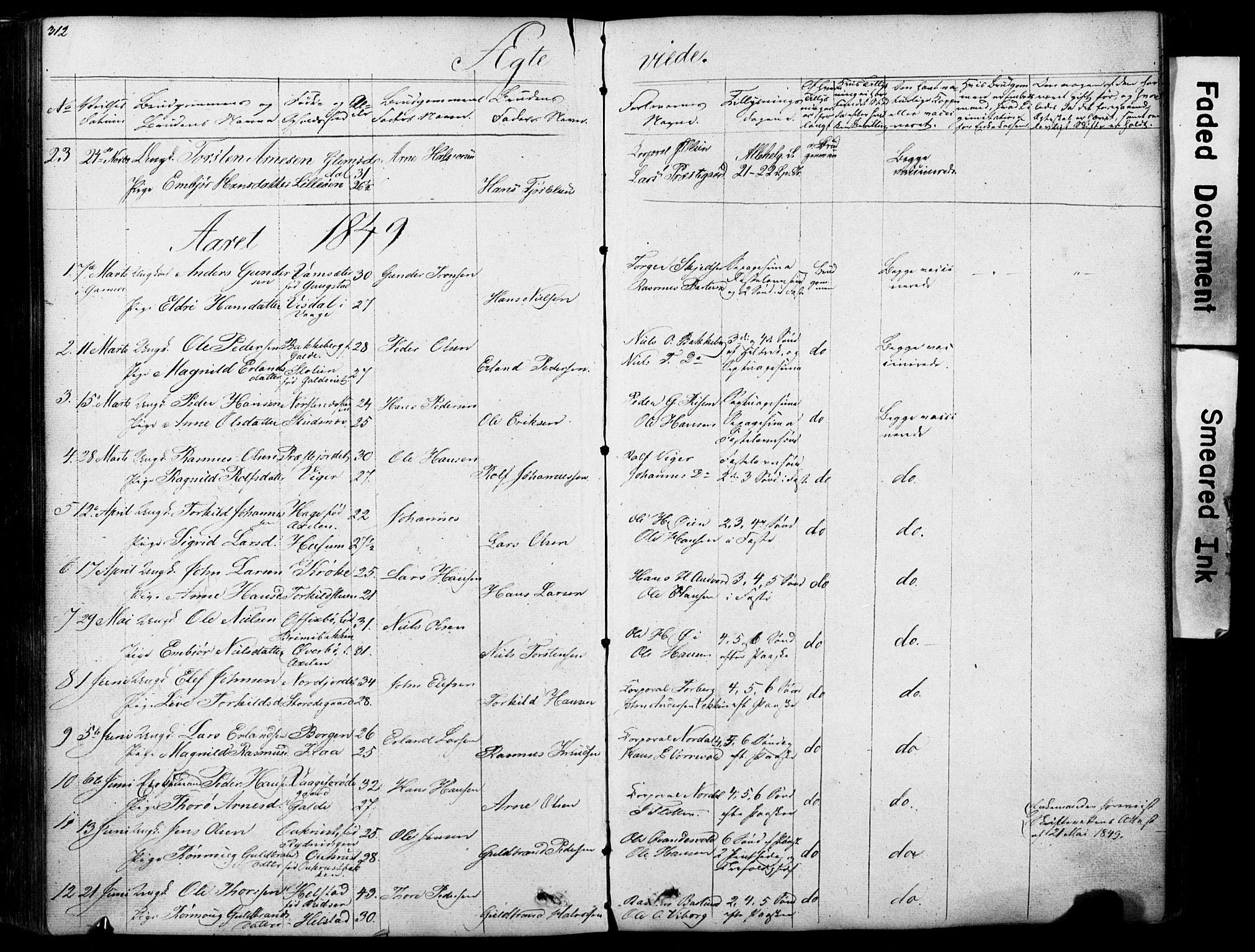 SAH, Lom prestekontor, L/L0012: Klokkerbok nr. 12, 1845-1873, s. 312-313