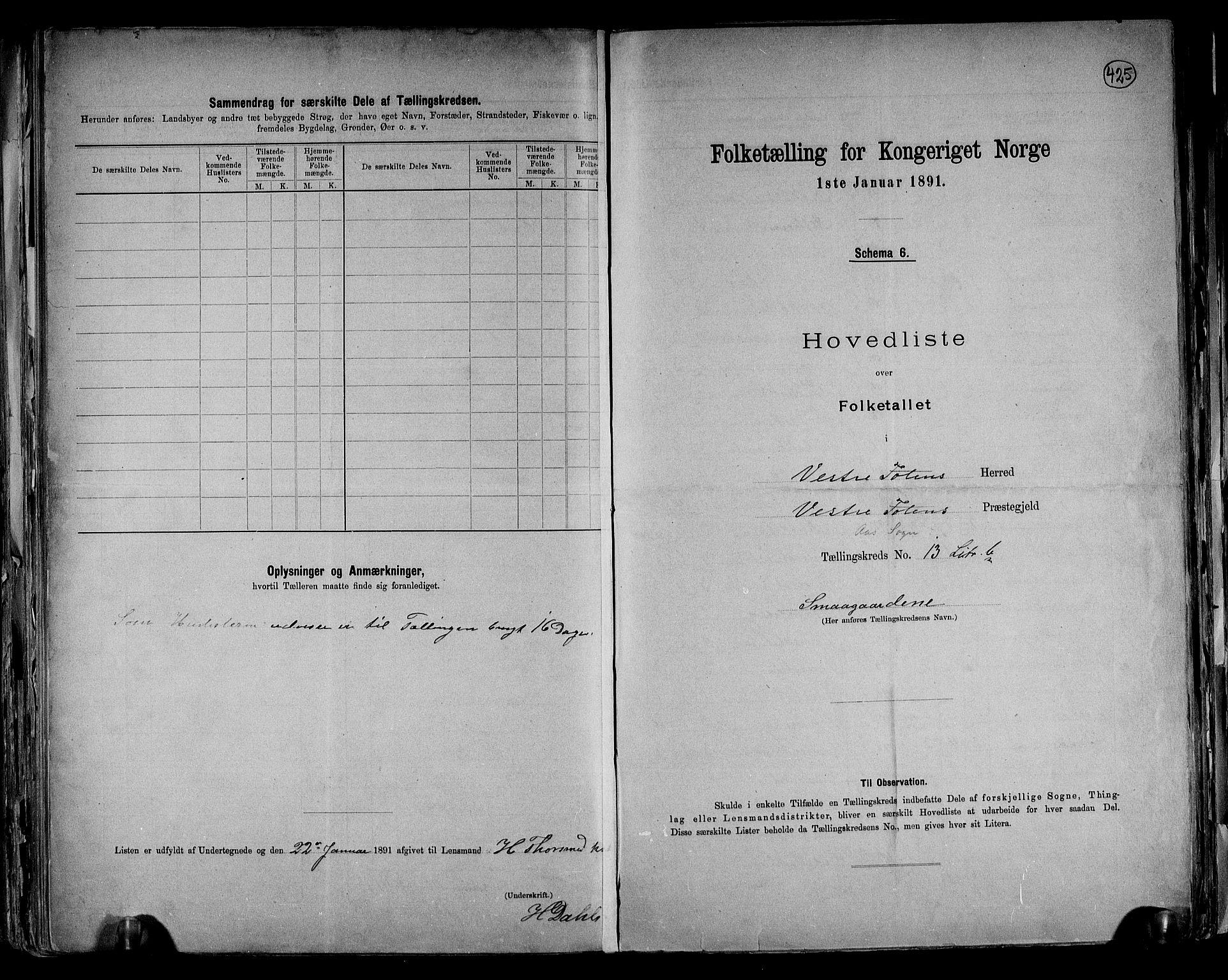 RA, Folketelling 1891 for 0529 Vestre Toten herred, 1891, s. 39