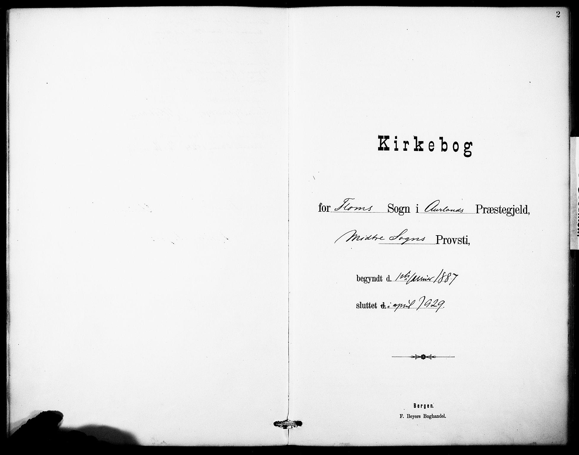 SAB, Aurland Sokneprestembete*, Klokkerbok nr. B 2, 1887-1929, s. 2