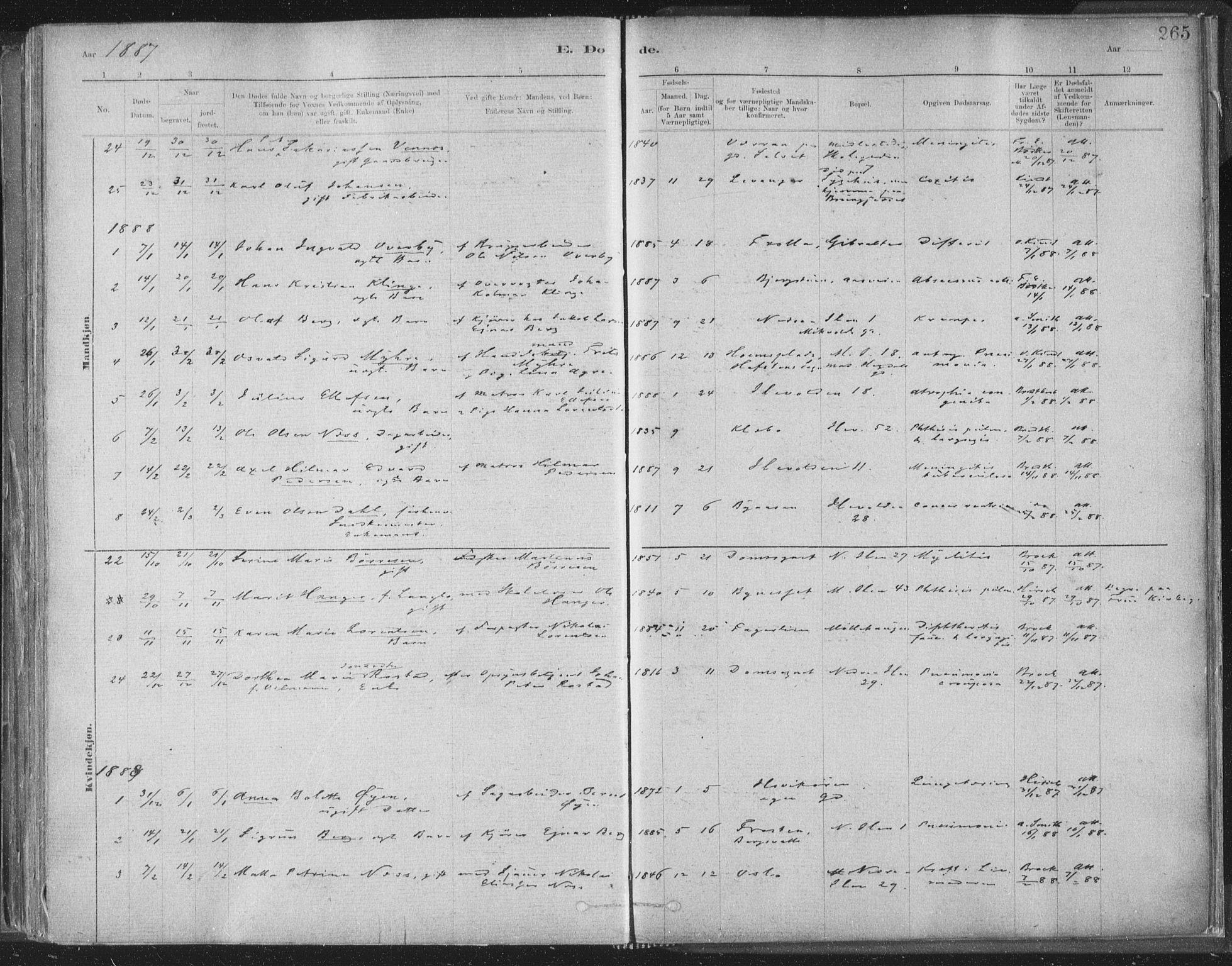 SAT, Ministerialprotokoller, klokkerbøker og fødselsregistre - Sør-Trøndelag, 603/L0162: Ministerialbok nr. 603A01, 1879-1895, s. 265