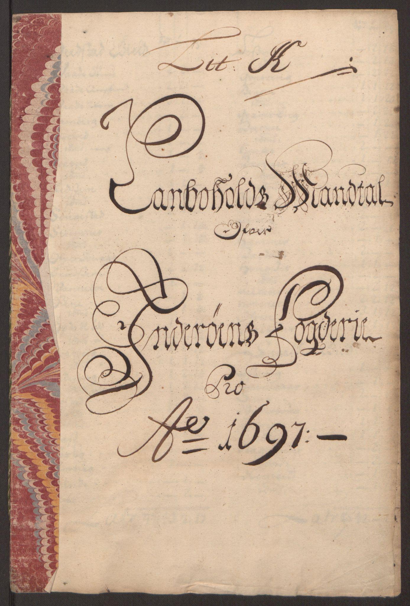 RA, Rentekammeret inntil 1814, Reviderte regnskaper, Fogderegnskap, R63/L4309: Fogderegnskap Inderøy, 1695-1697, s. 487
