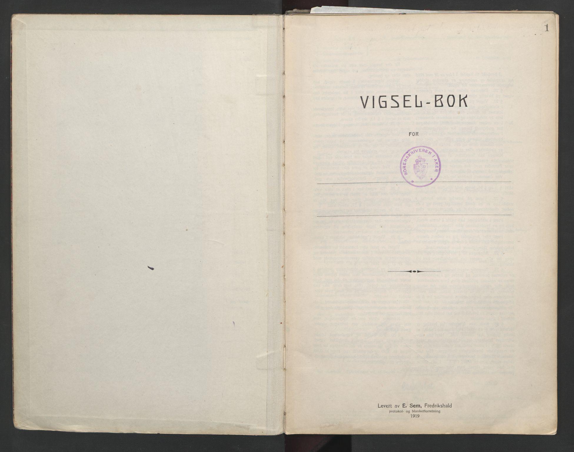 SAO, Aker sorenskriveri, L/Lc/Lcb/L0012: Vigselprotokoll, 1939-1940, s. 1