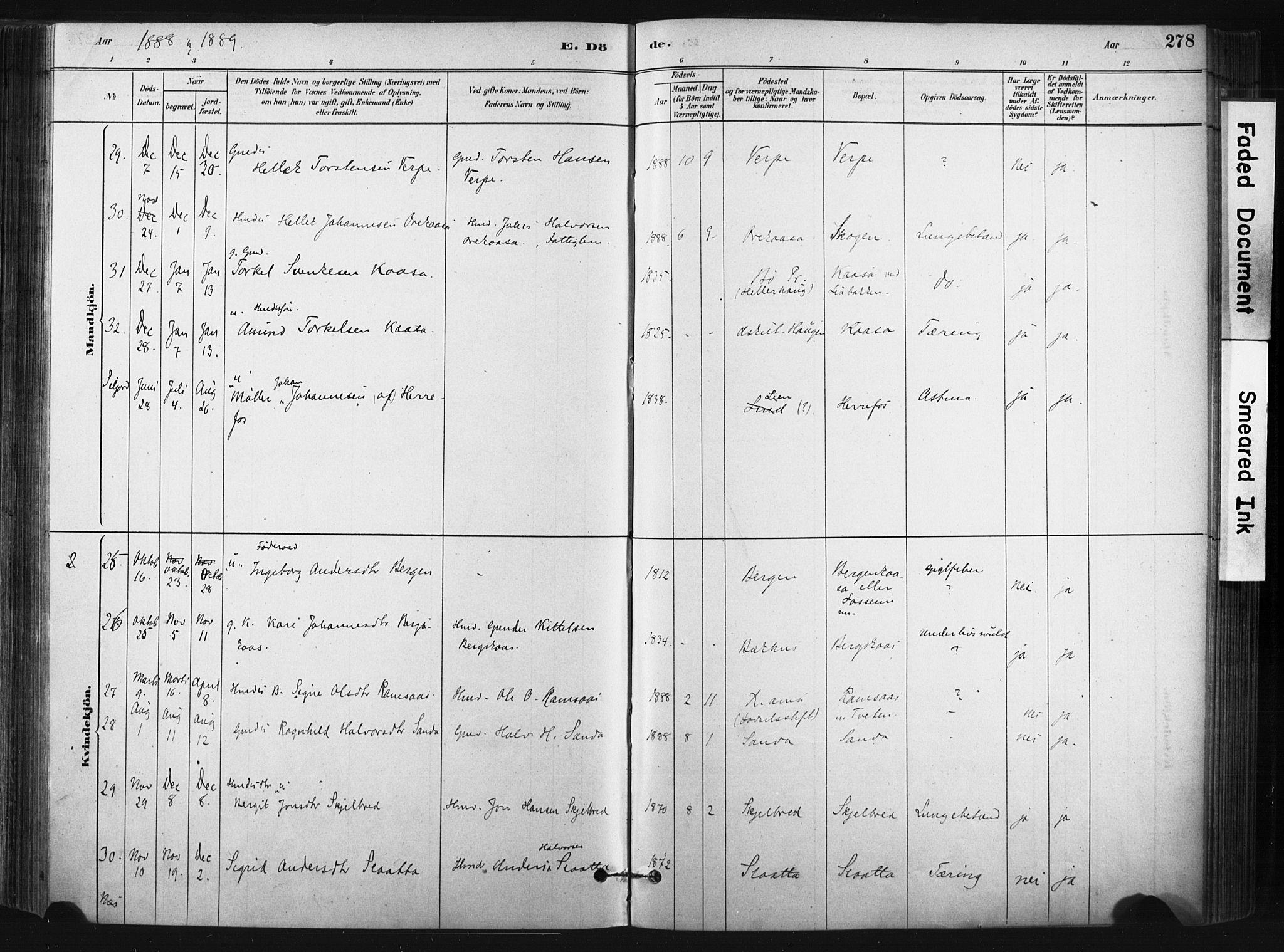 SAKO, Bø kirkebøker, F/Fa/L0010: Ministerialbok nr. 10, 1880-1892, s. 278