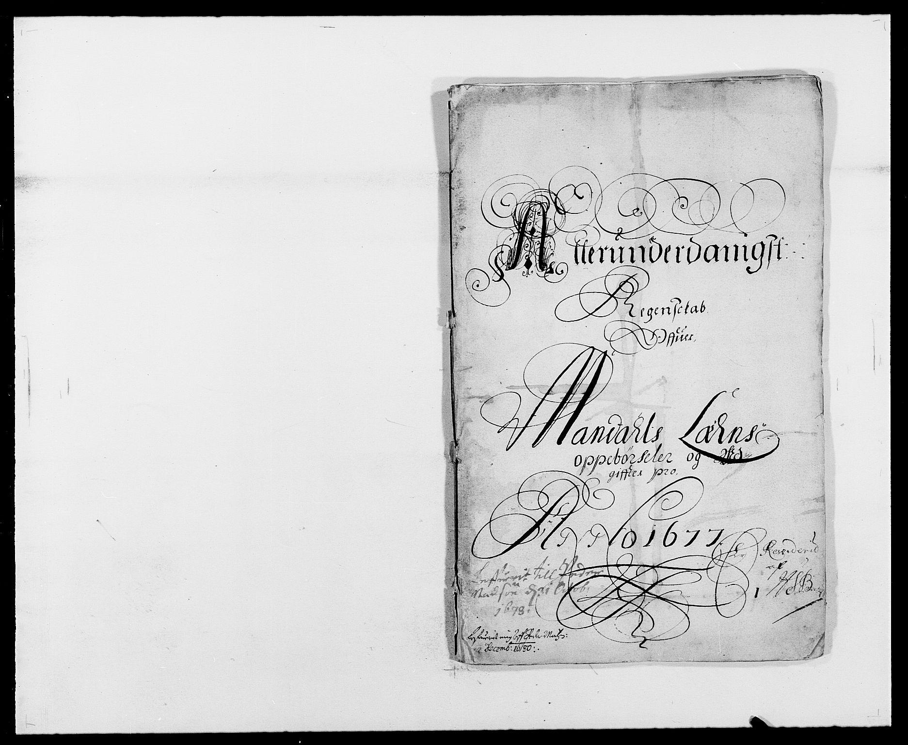 RA, Rentekammeret inntil 1814, Reviderte regnskaper, Fogderegnskap, R42/L2540: Mandal fogderi, 1676-1680, s. 48