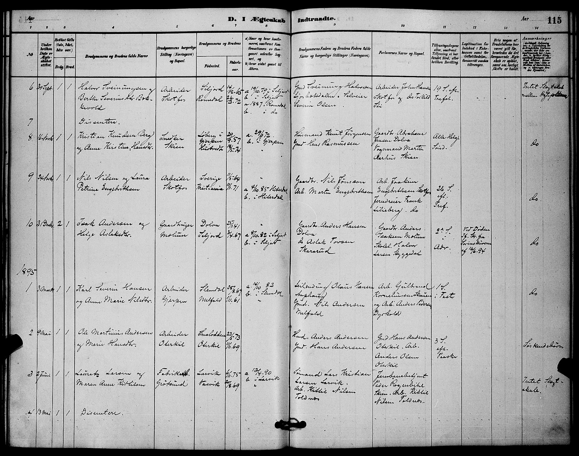SAKO, Solum kirkebøker, G/Gb/L0003: Klokkerbok nr. II 3, 1880-1898, s. 115