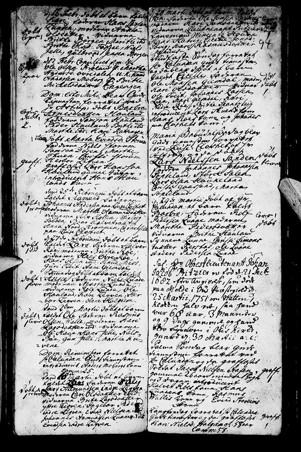 SAB, Os sokneprestembete*, Ministerialbok nr. A 2, 1723-1758, s. 94