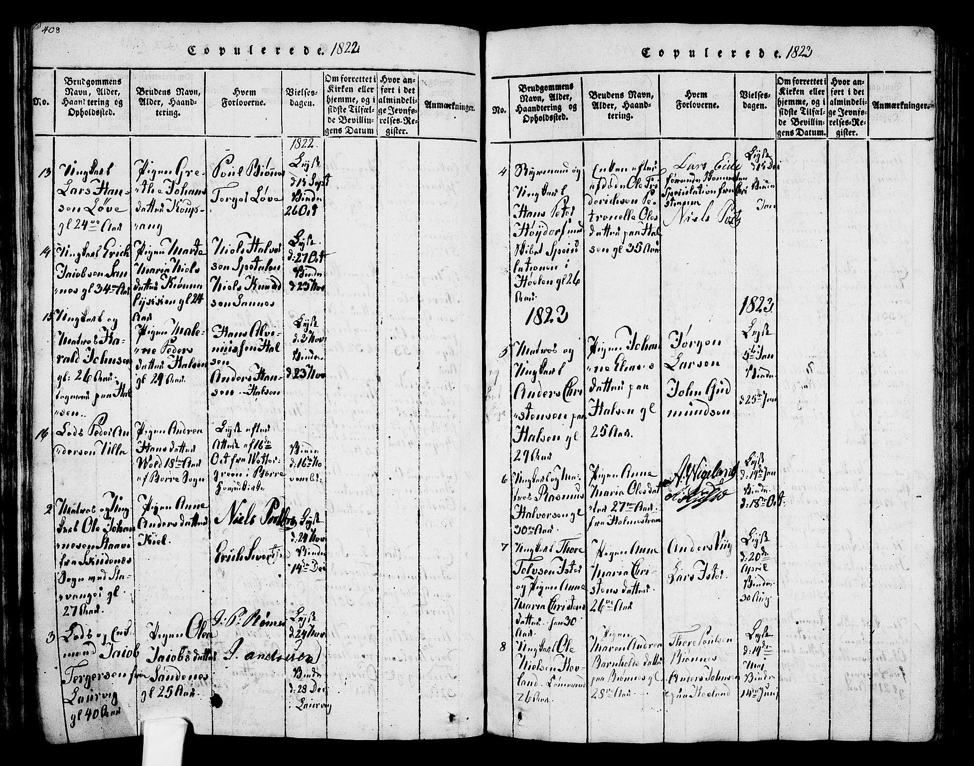 SAKO, Tjølling kirkebøker, F/Fa/L0005: Ministerialbok nr. 5, 1814-1836, s. 408-409