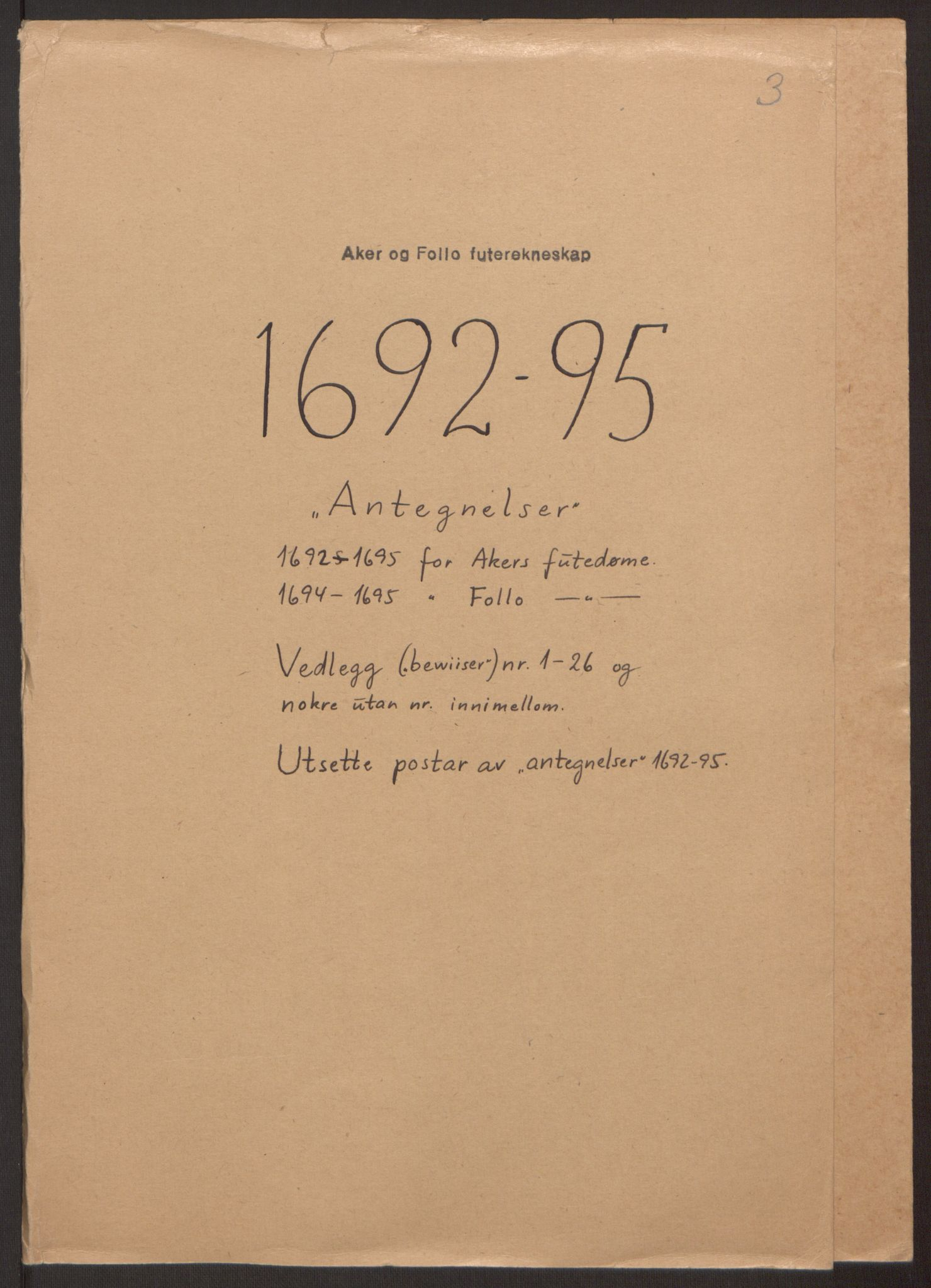 RA, Rentekammeret inntil 1814, Reviderte regnskaper, Fogderegnskap, R10/L0439: Fogderegnskap Aker og Follo, 1695, s. 271