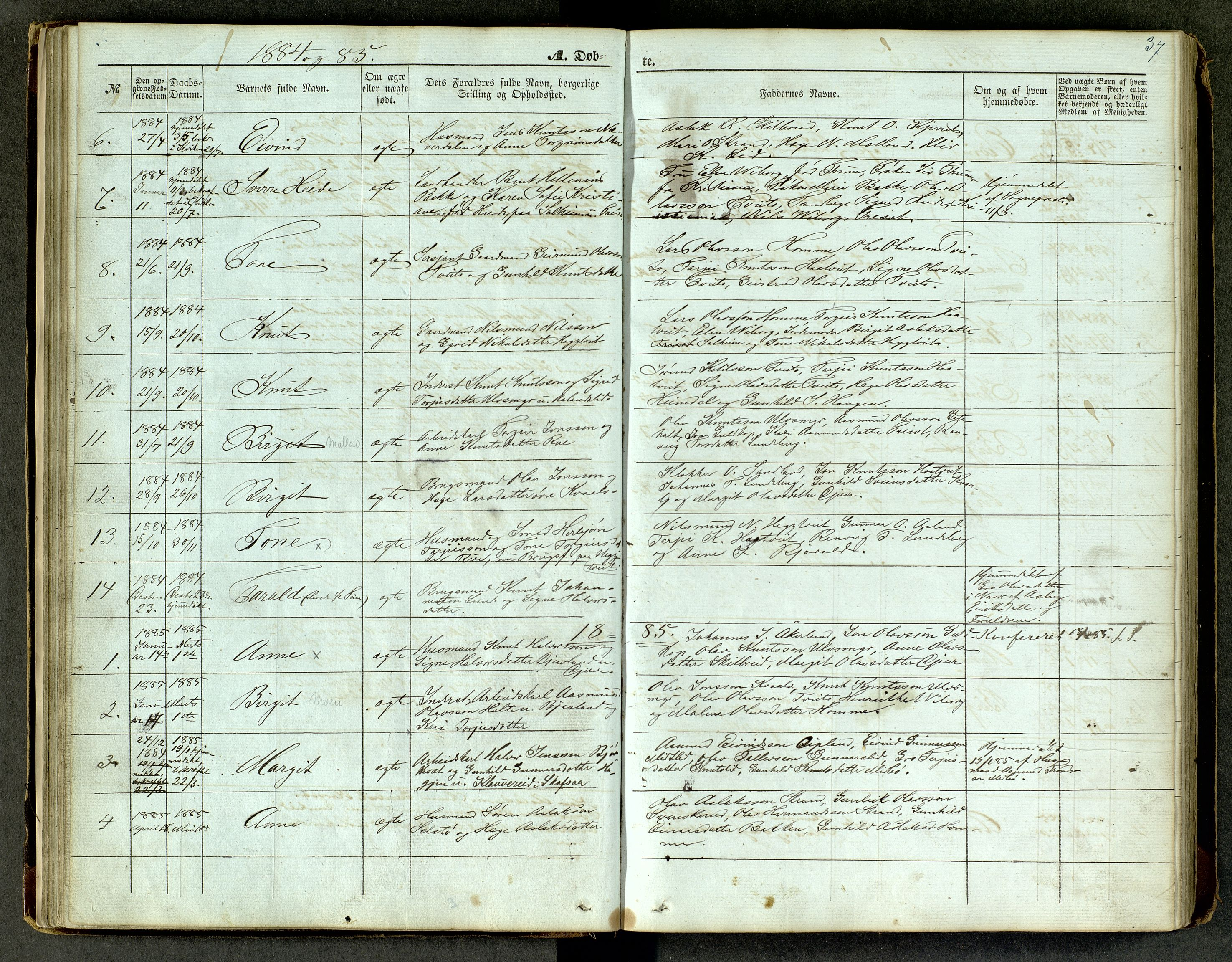 SAKO, Lårdal kirkebøker, G/Ga/L0002: Klokkerbok nr. I 2, 1861-1890, s. 37