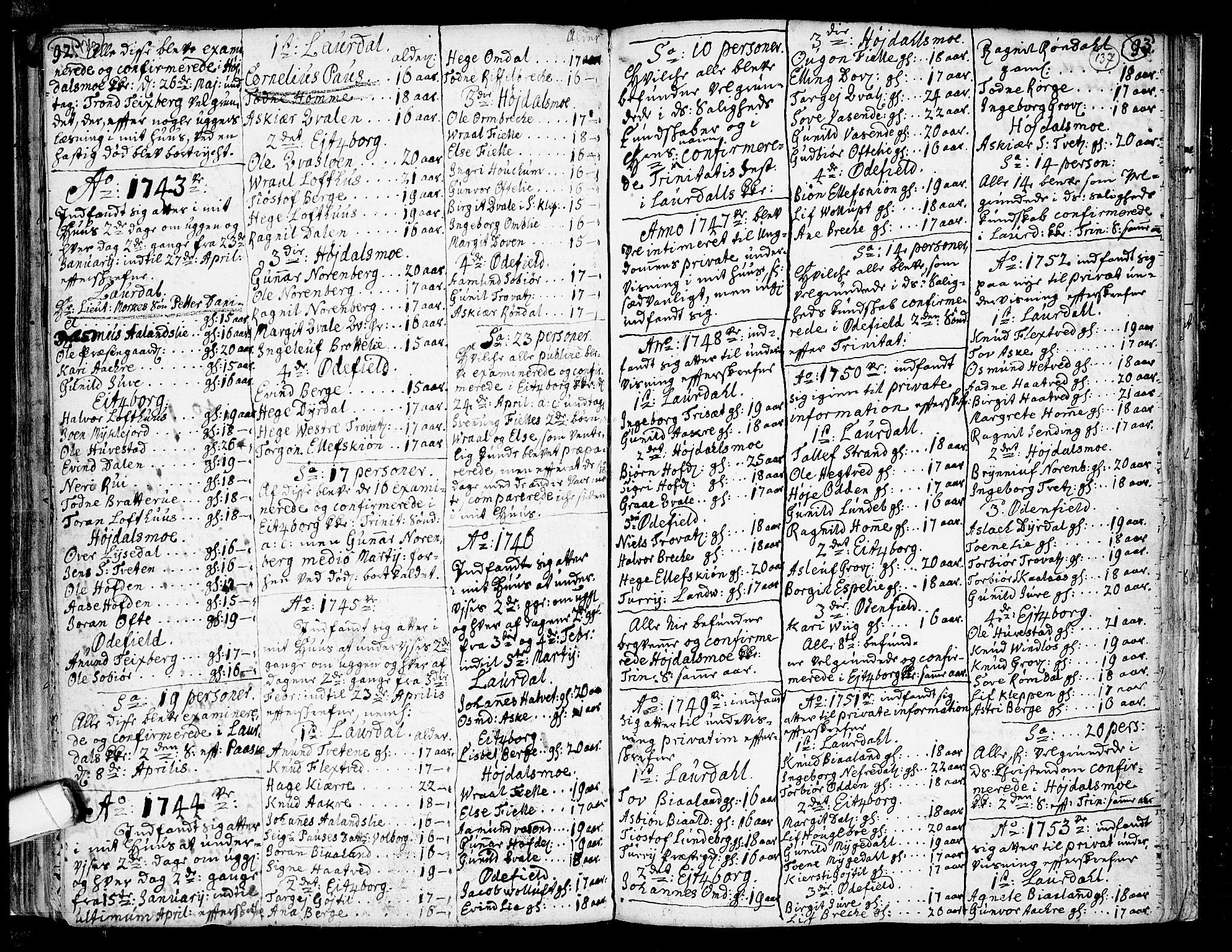 SAKO, Lårdal kirkebøker, F/Fa/L0002: Ministerialbok nr. I 2, 1734-1754, s. 136-137
