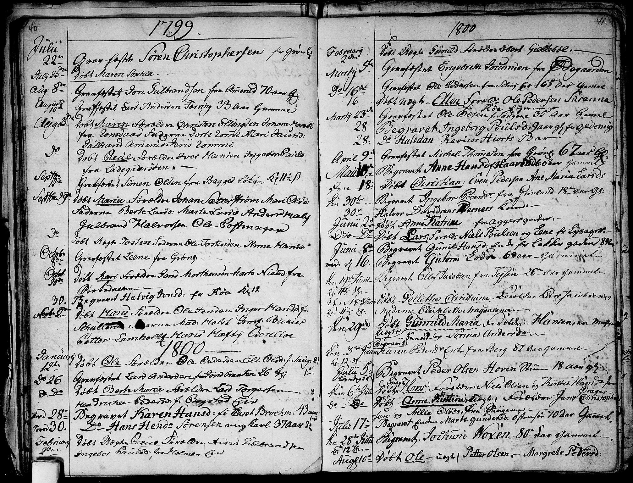 SAO, Aker prestekontor kirkebøker, G/L0001: Klokkerbok nr. 1, 1796-1826, s. 40-41