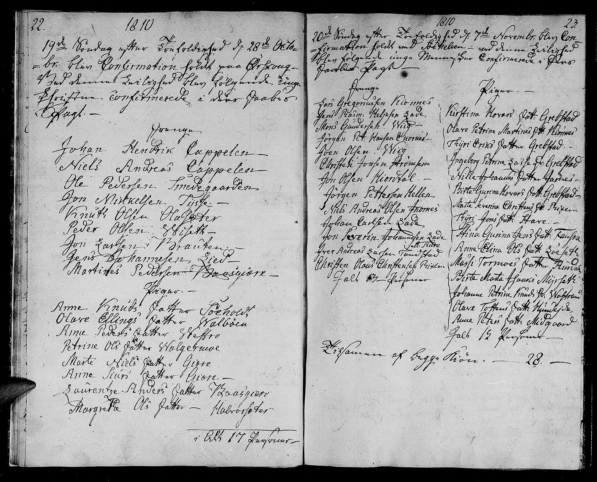 SAT, Ministerialprotokoller, klokkerbøker og fødselsregistre - Møre og Romsdal, 522/L0309: Ministerialbok nr. 522A04, 1810-1816, s. 22-23