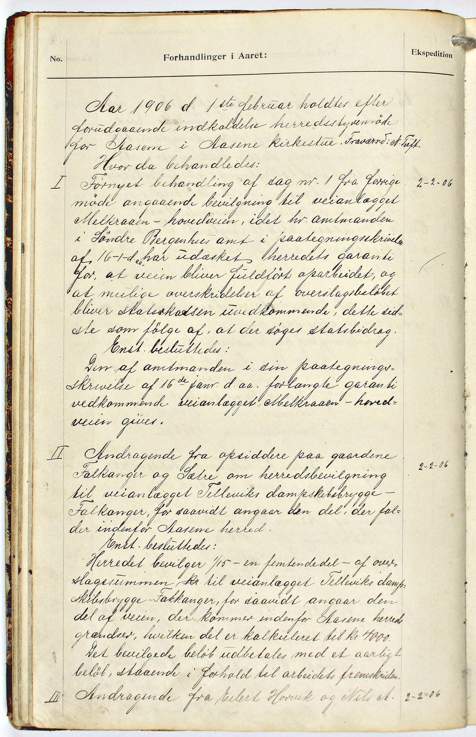 BBA, Åsane kommune. Formannskapet, A, 1904-1909, s. 33b