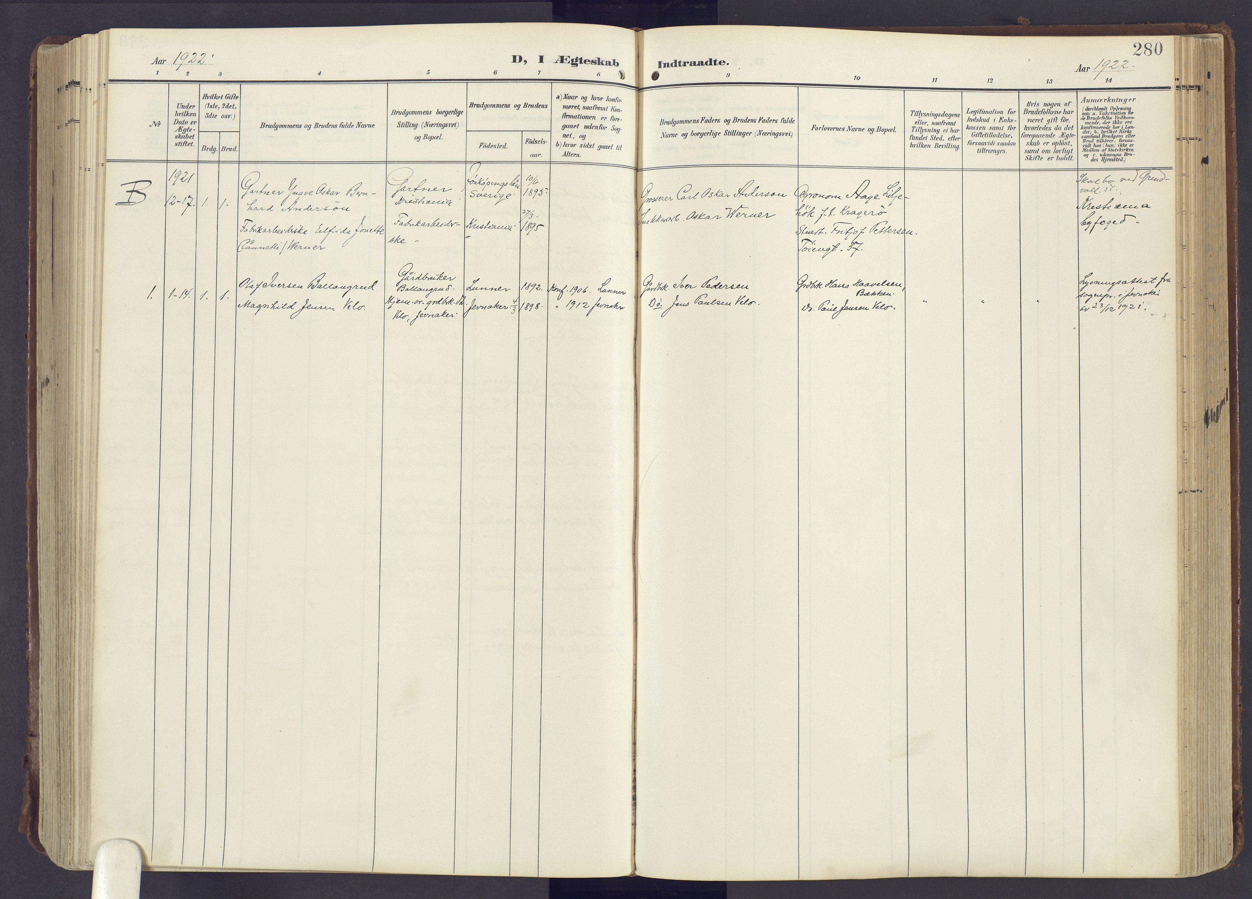 SAH, Lunner prestekontor, H/Ha/Haa/L0001: Ministerialbok nr. 1, 1907-1922, s. 280